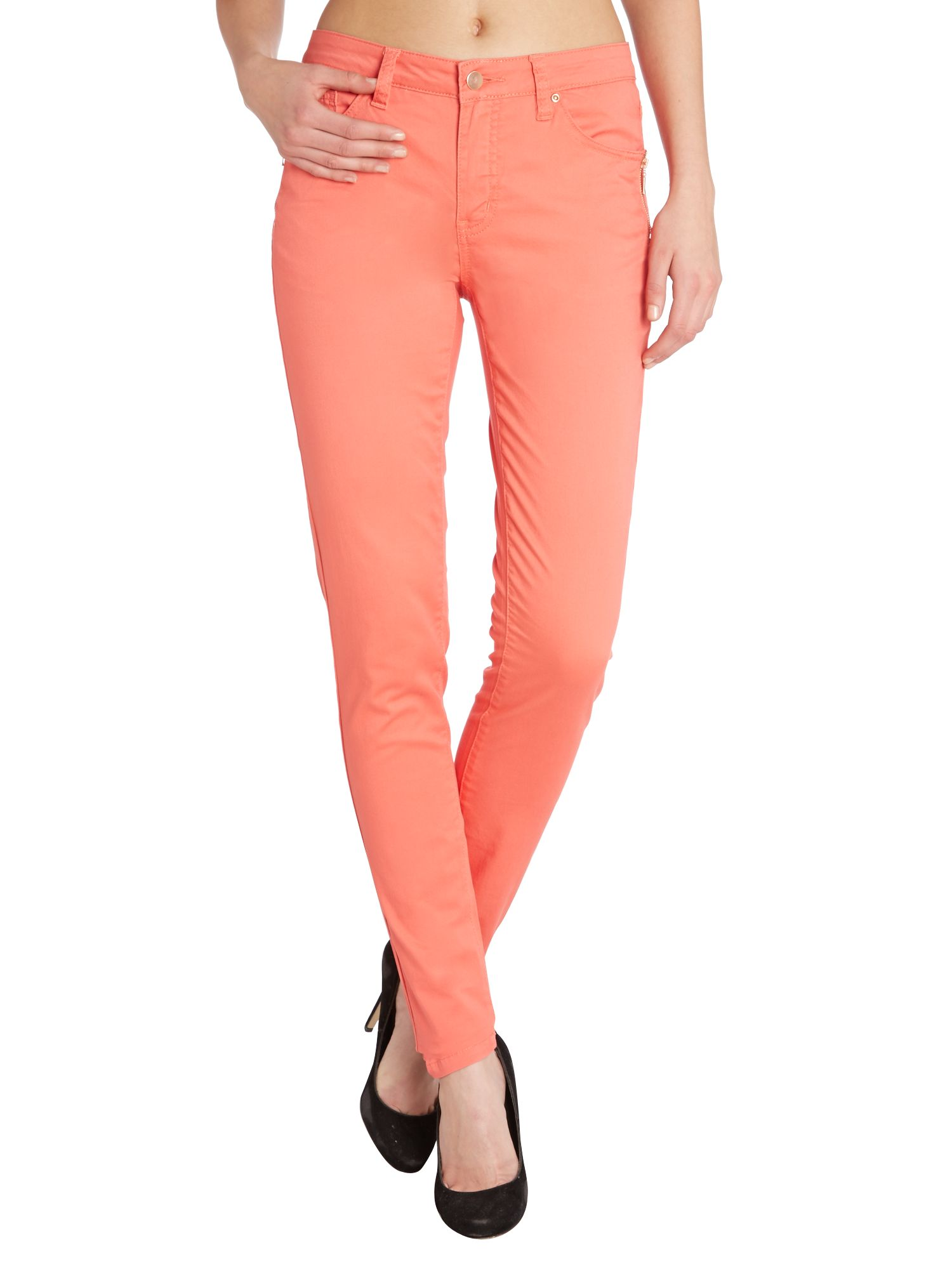 Zip pocket slim leg jeans