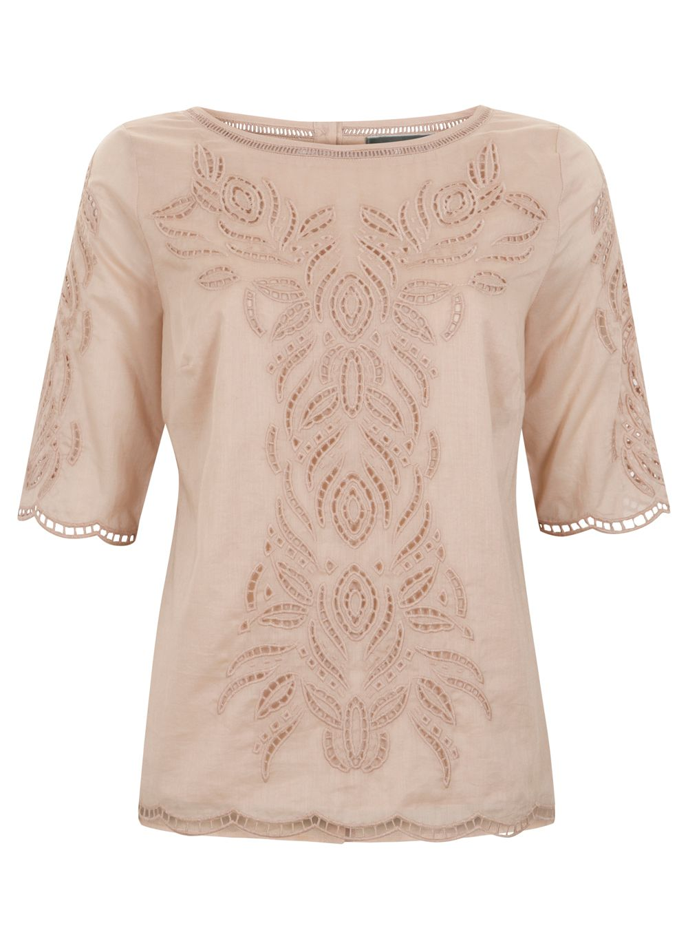 Nude cut out embroidered t-shirt