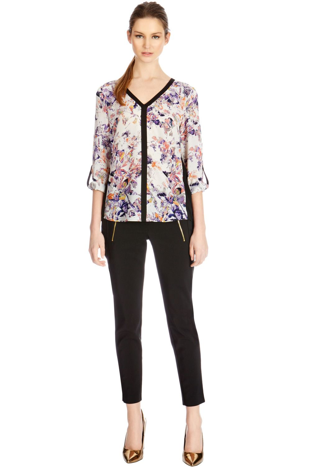 Pretty bird floral blouse