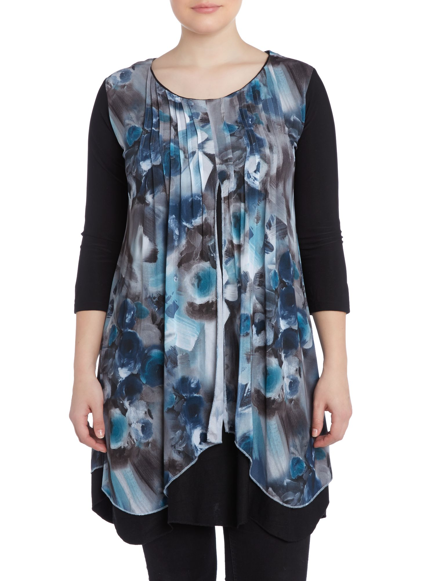 Contrast drape neck print top