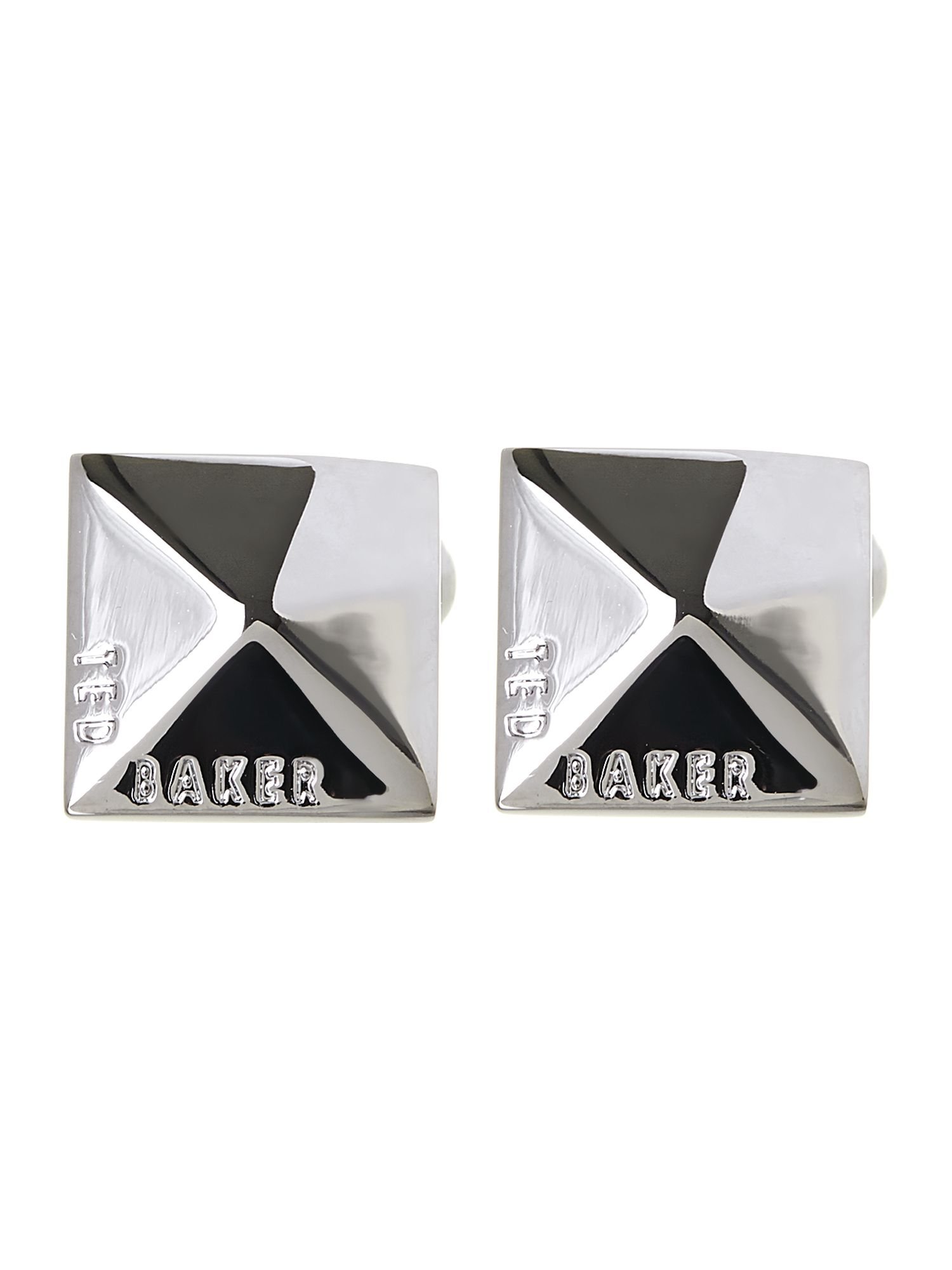 Faceted branded square cufflink
