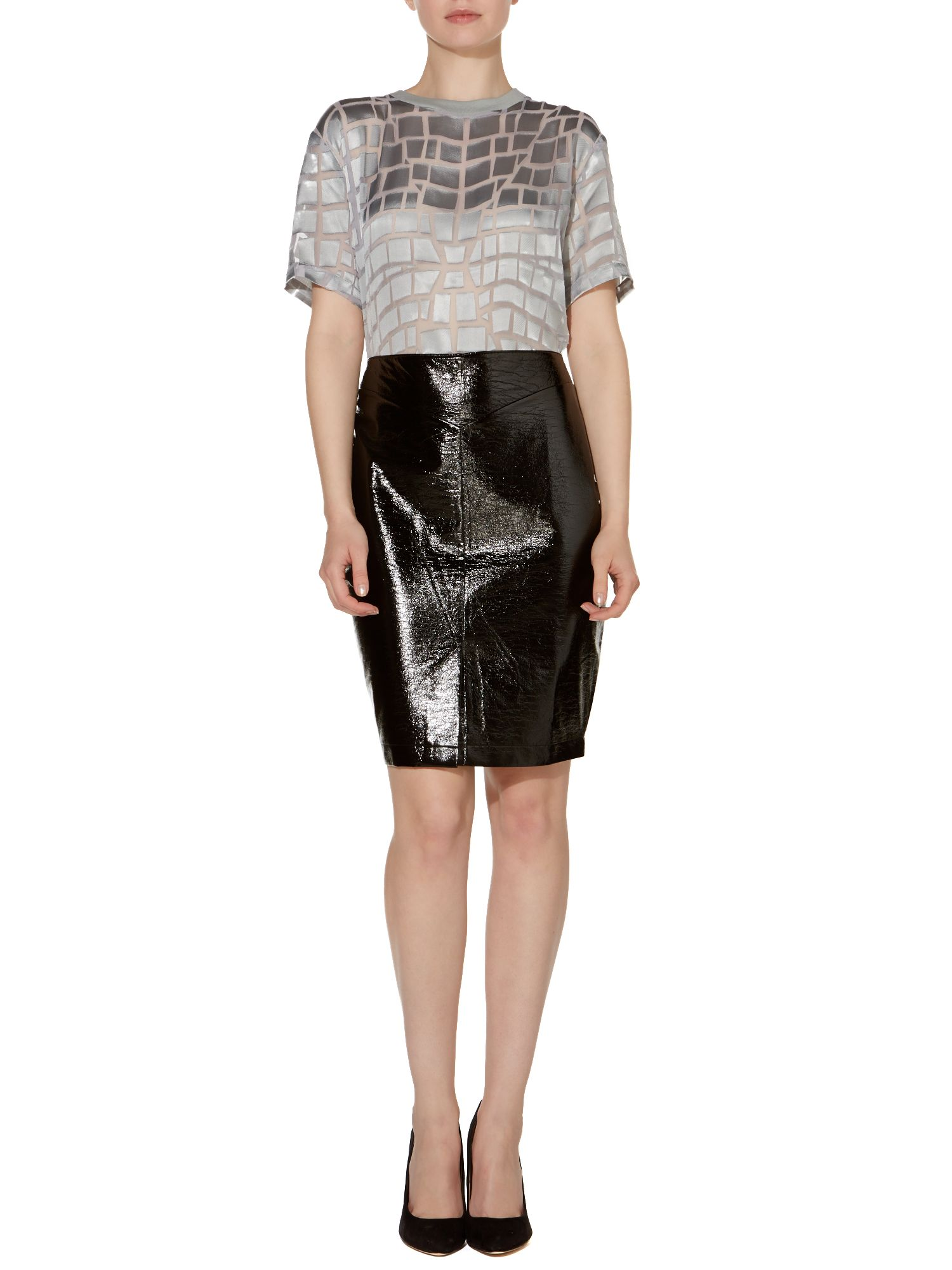 Patend Pencil Skirt