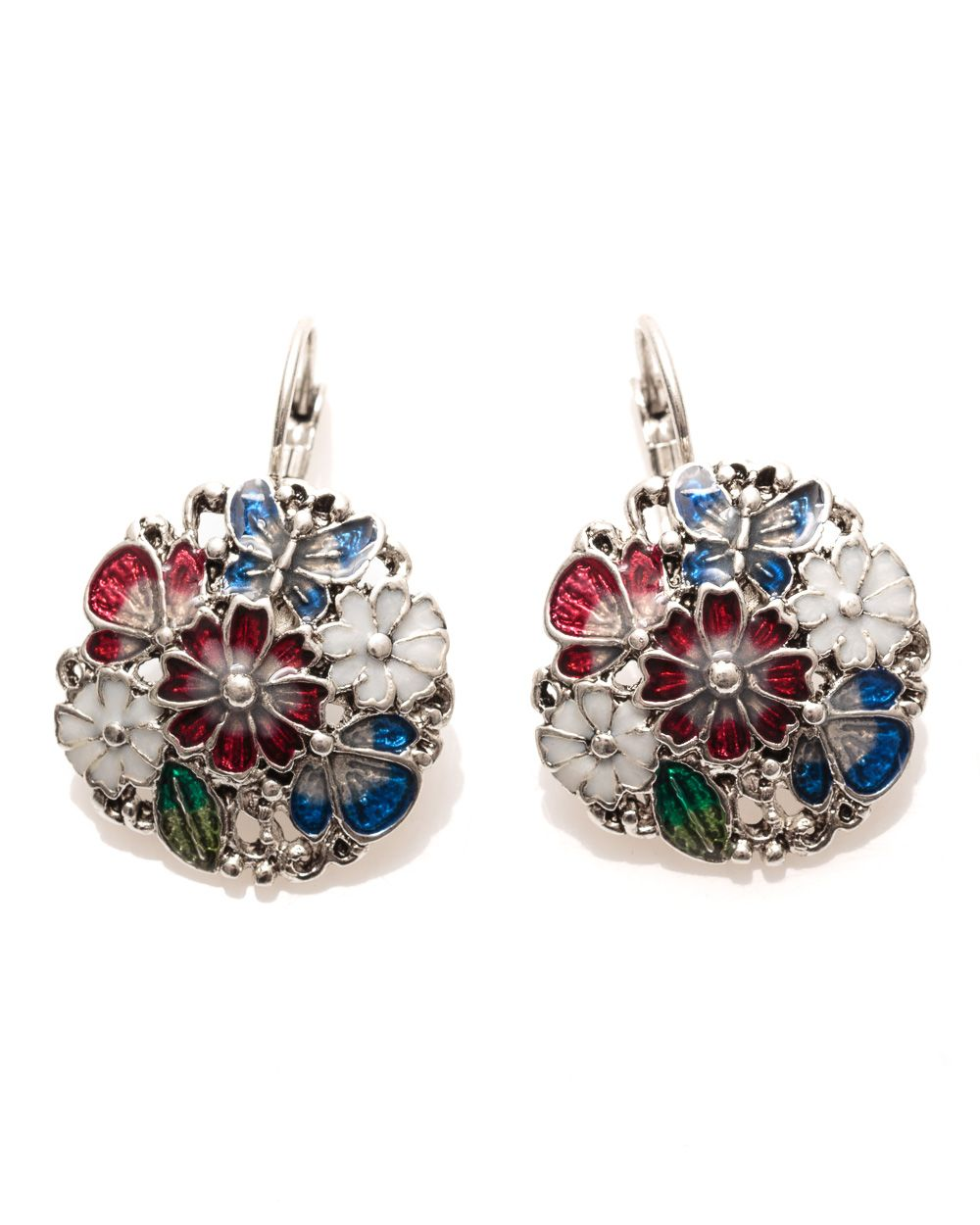 Enamel cluster earrings