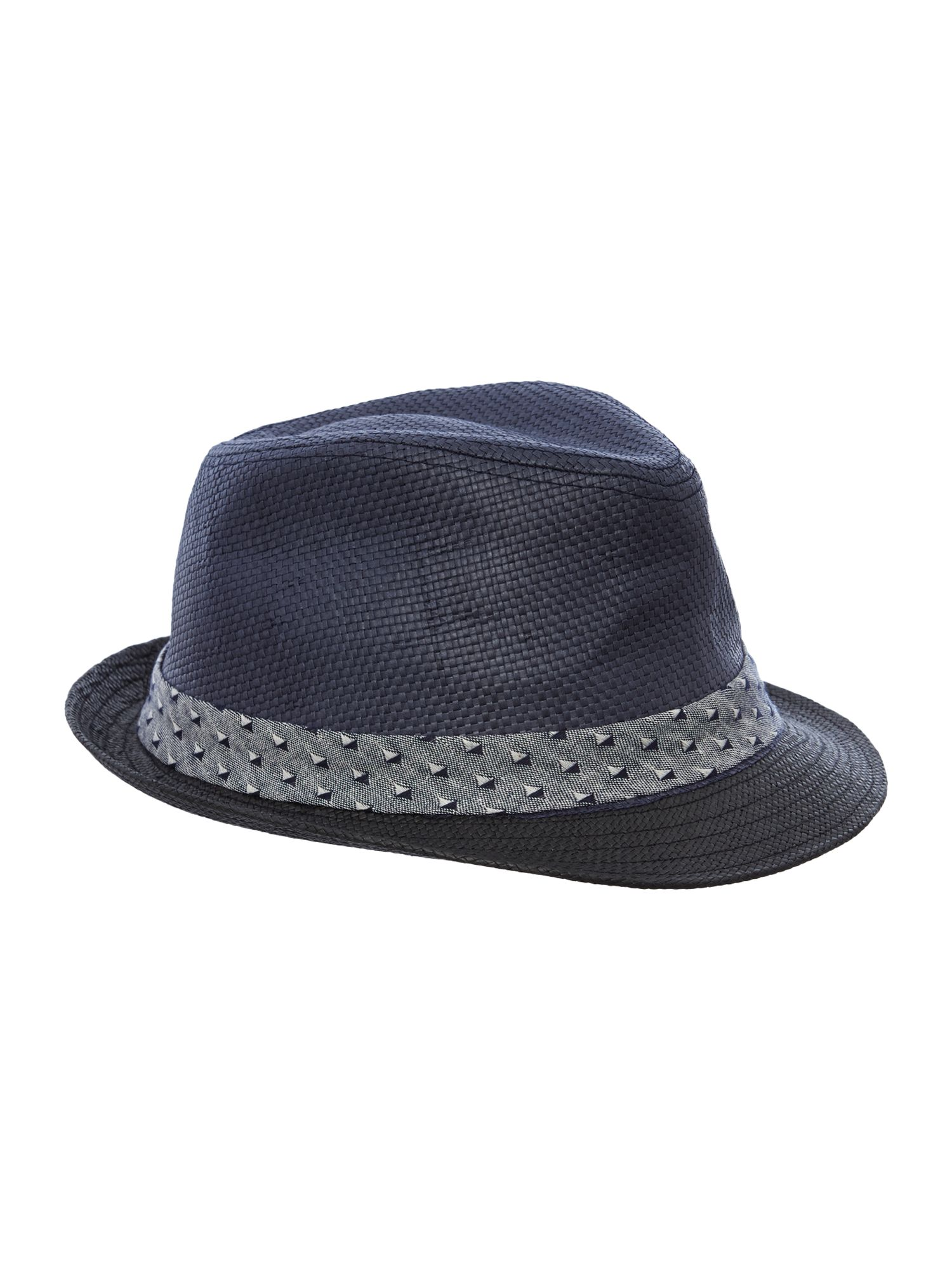 Straw band trilby hat