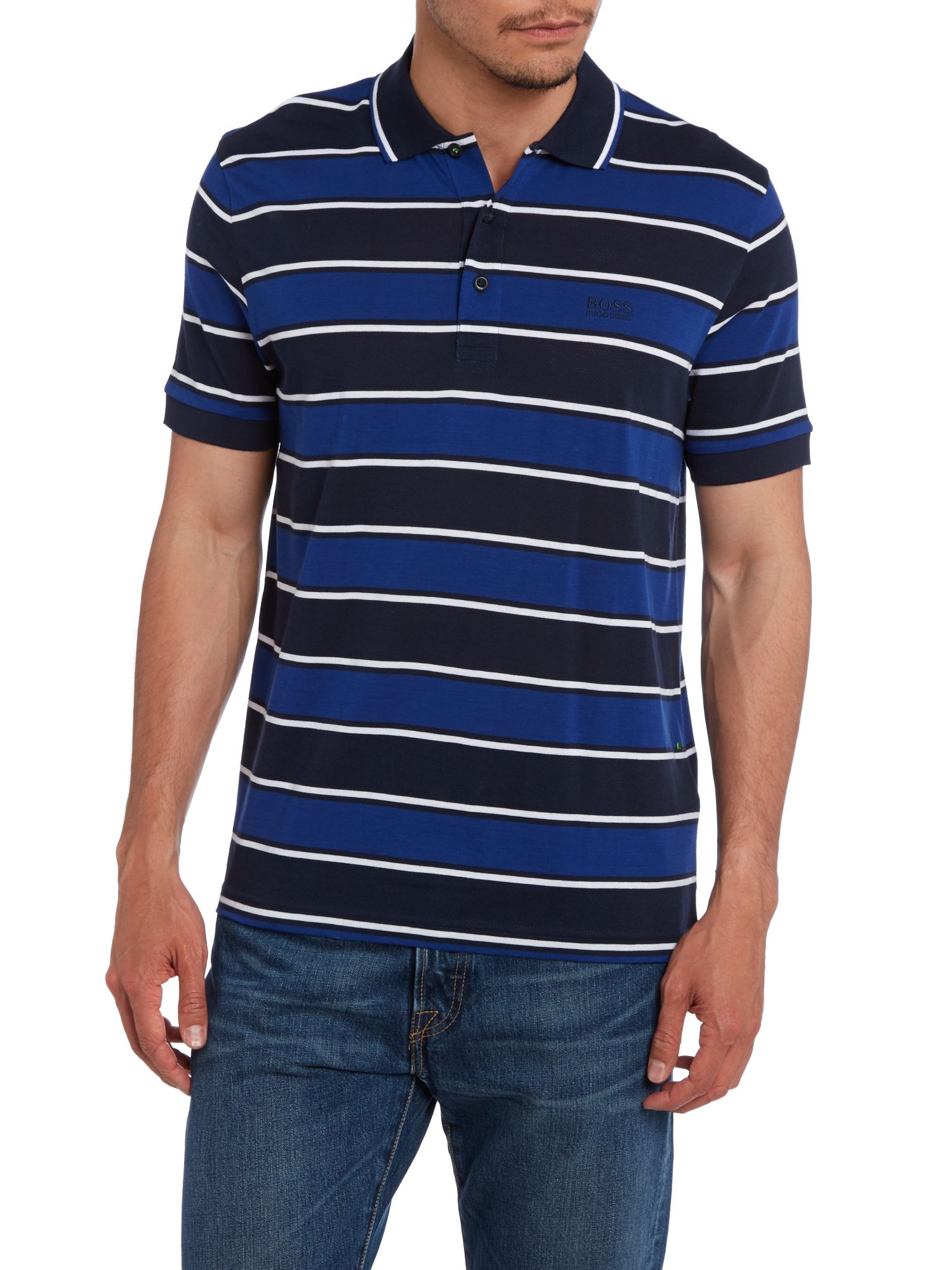Large stripe polo shirt