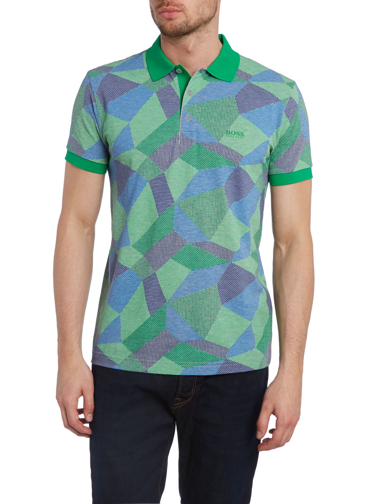 Aztec print slim fit polo shirt