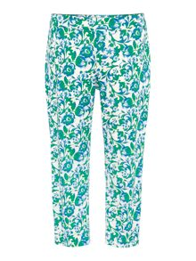 Cropped floral straight leg trouser