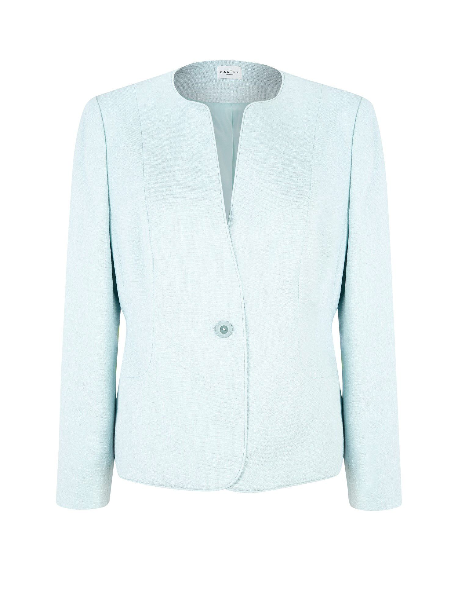 Mint green tailored collarless jacket