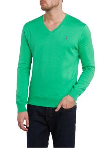 V neck slim fit pima cotton polo