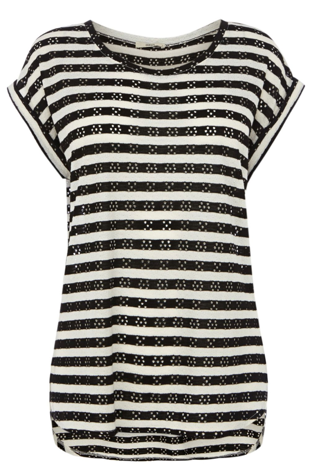 Pointelle stripe top