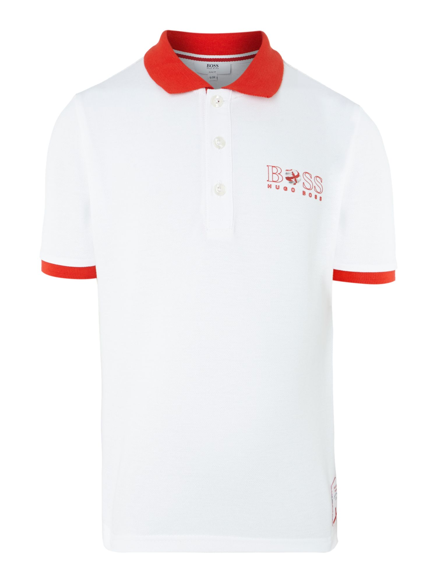 Kids England football colours polo shirt