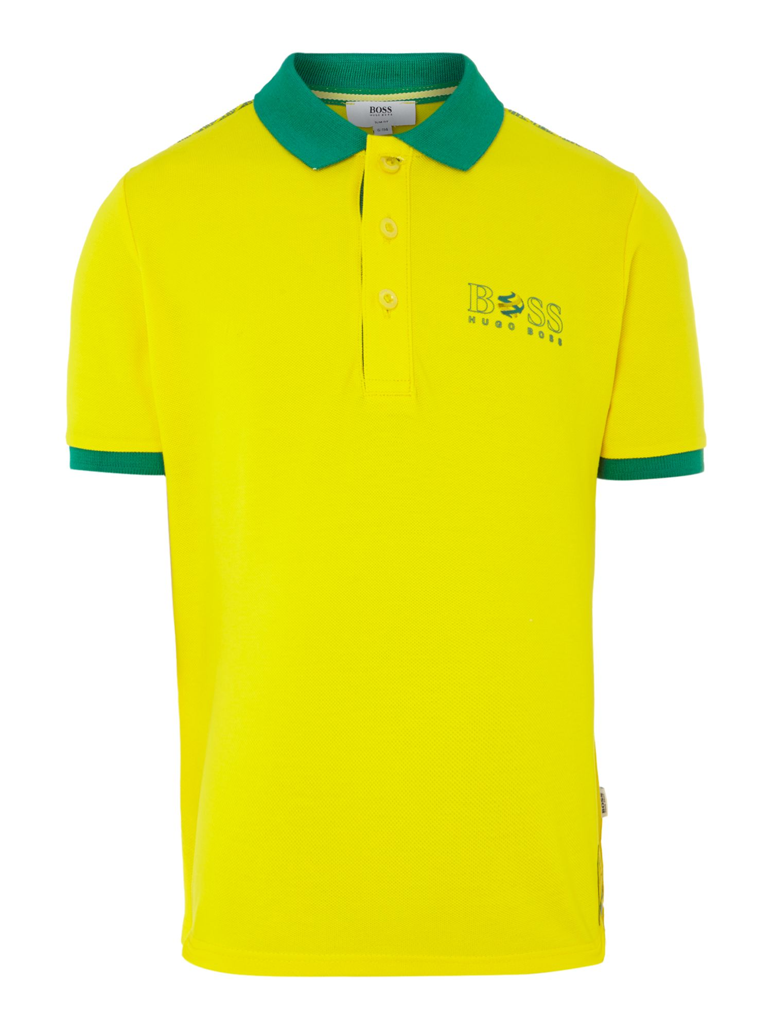 Kids Brazil football colours polo shirt