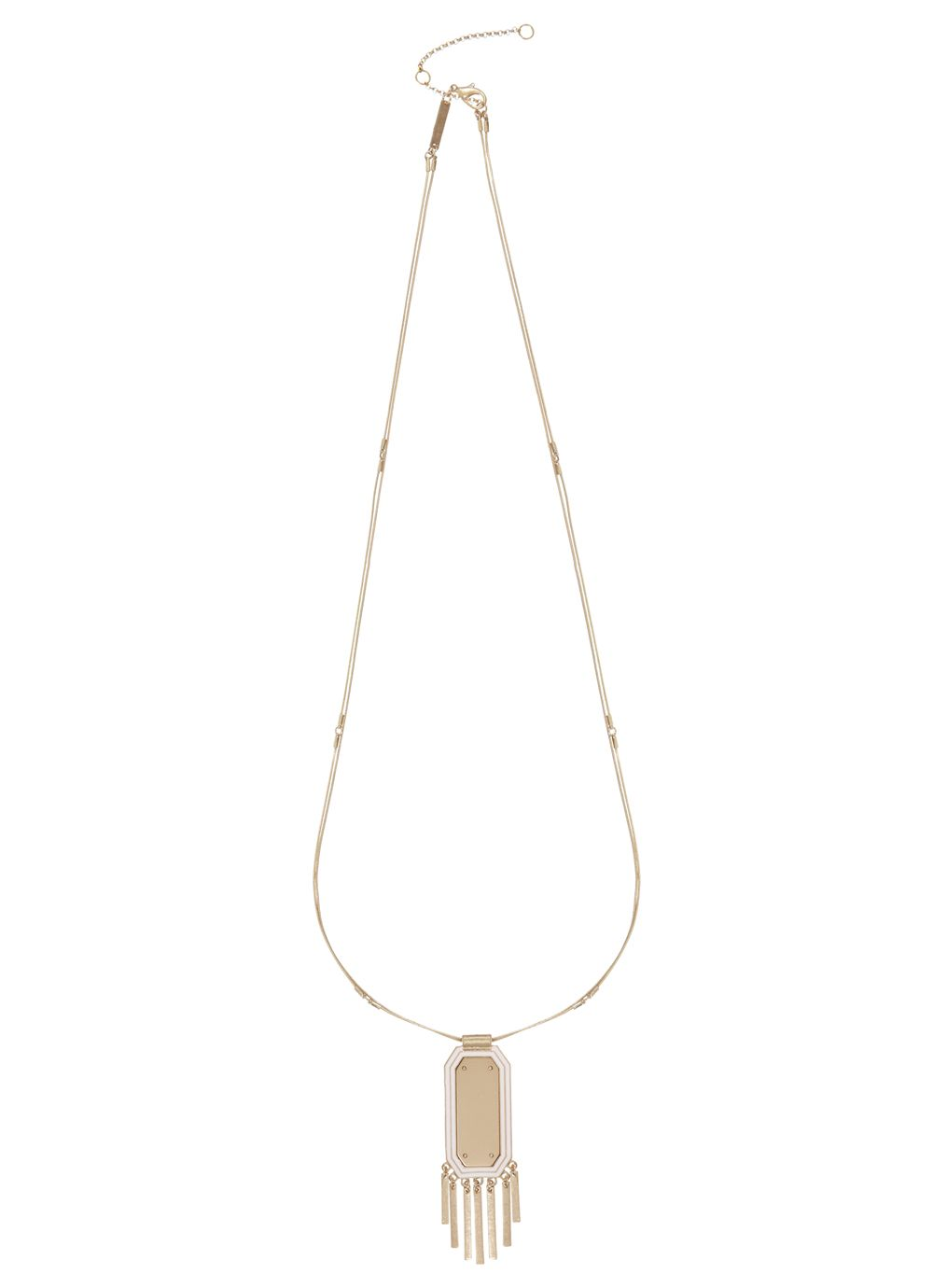 Enamel plate and metal fringe necklace