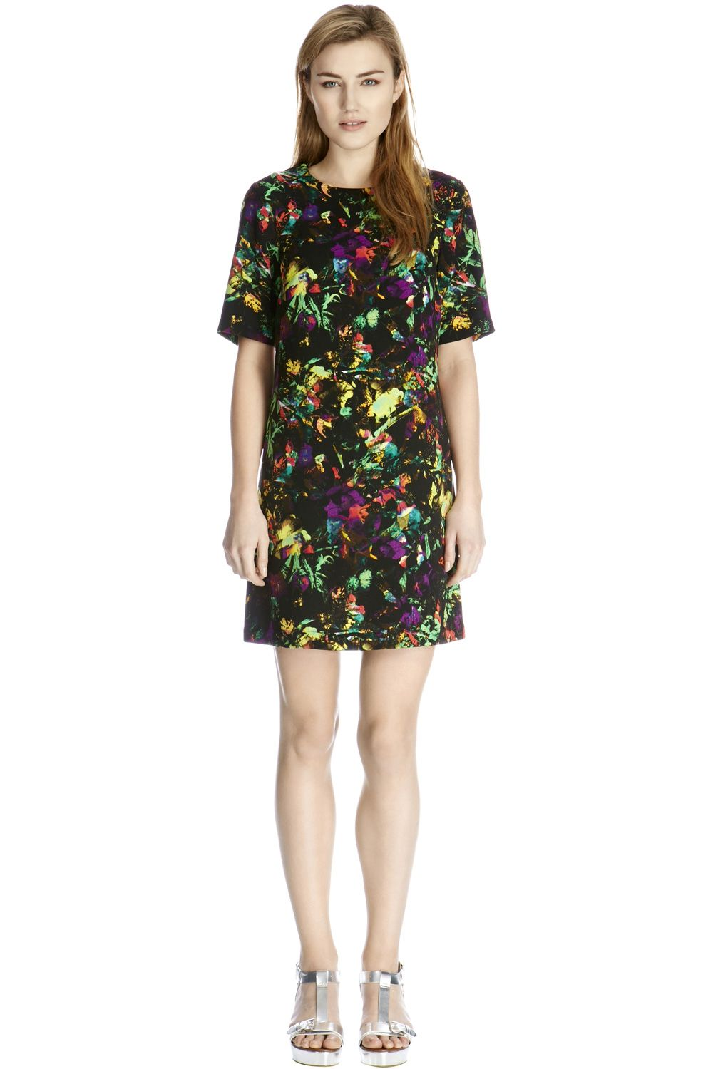 Tropical fluro print shift dress