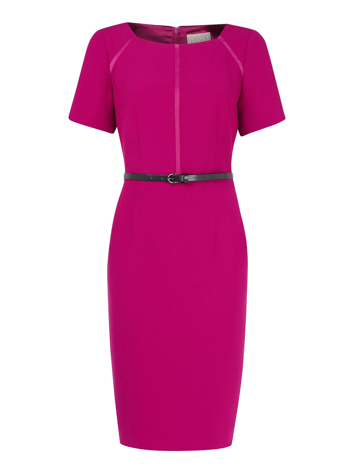 Cerise pink belted shift dress