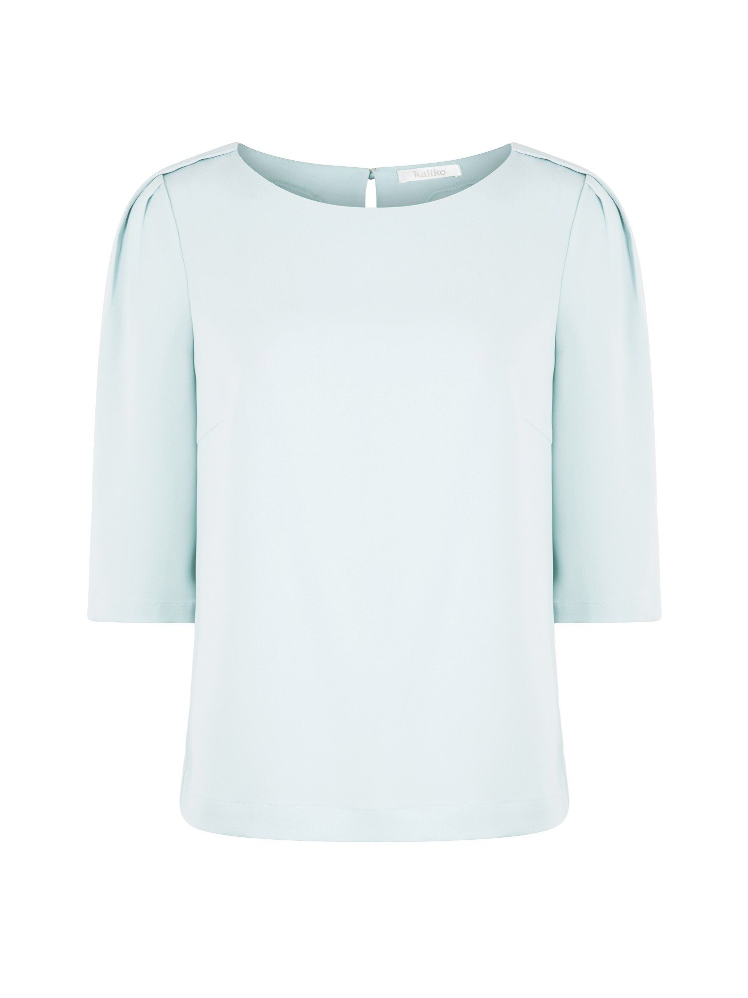 Duck egg blue shoulder tuck top