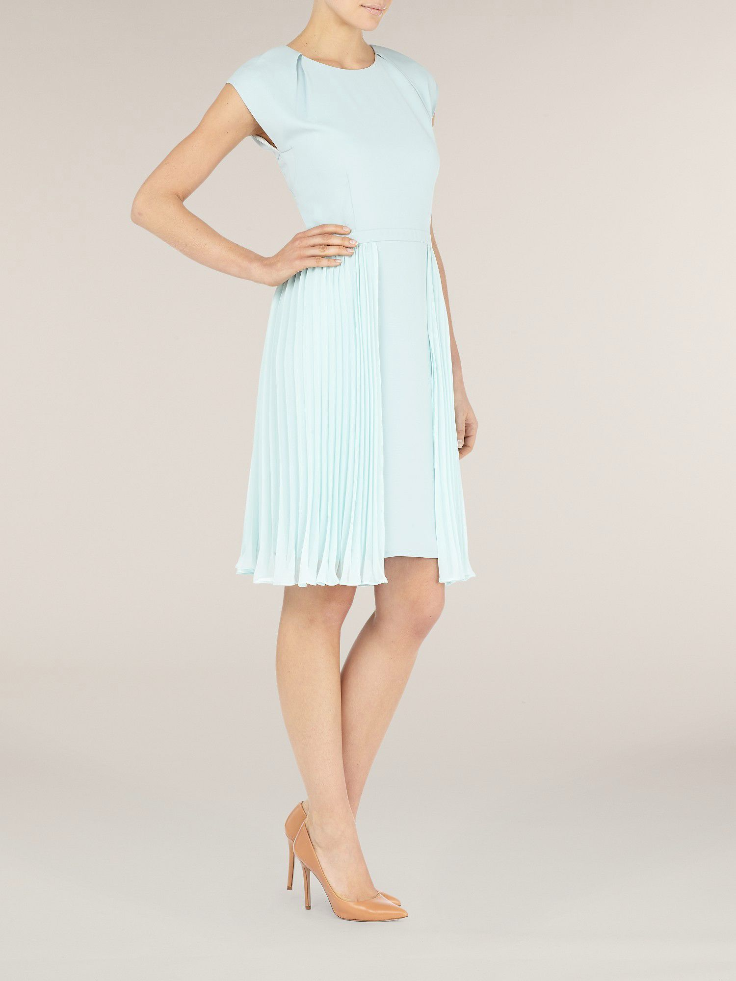 Duck egg blue pleated skirt dress