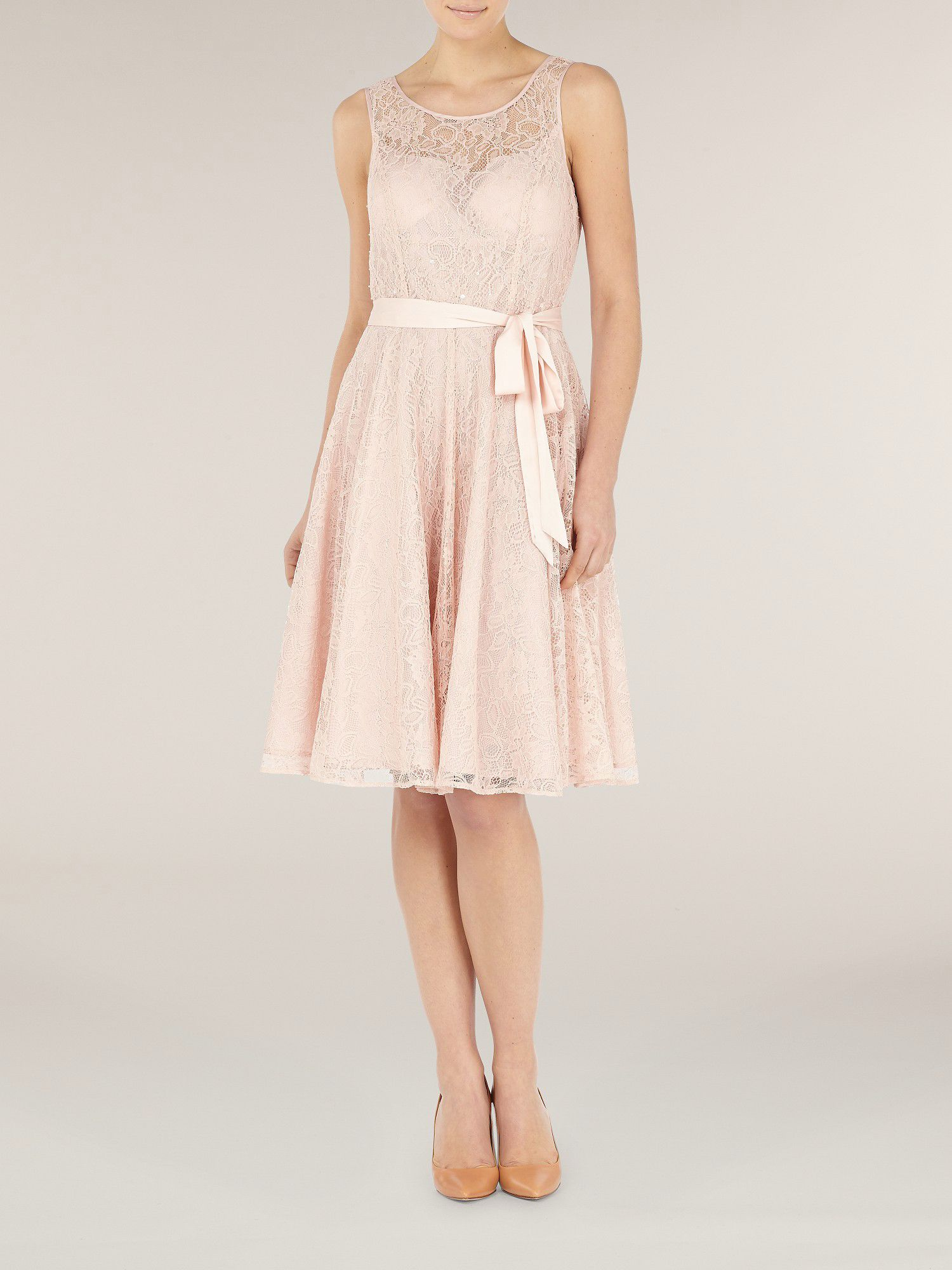 Rosewater lace prom dress