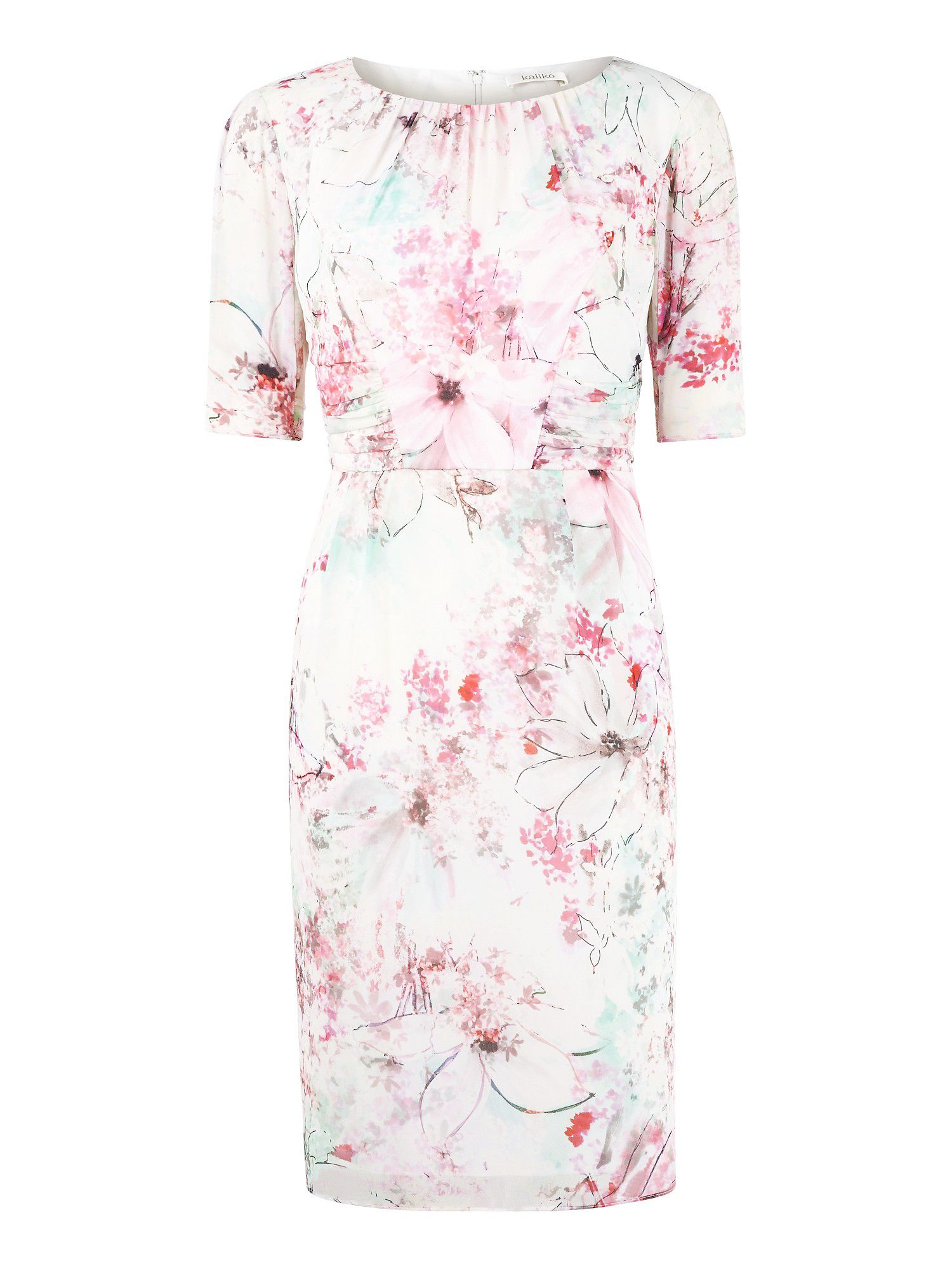 Magnolia floral print ruched dress
