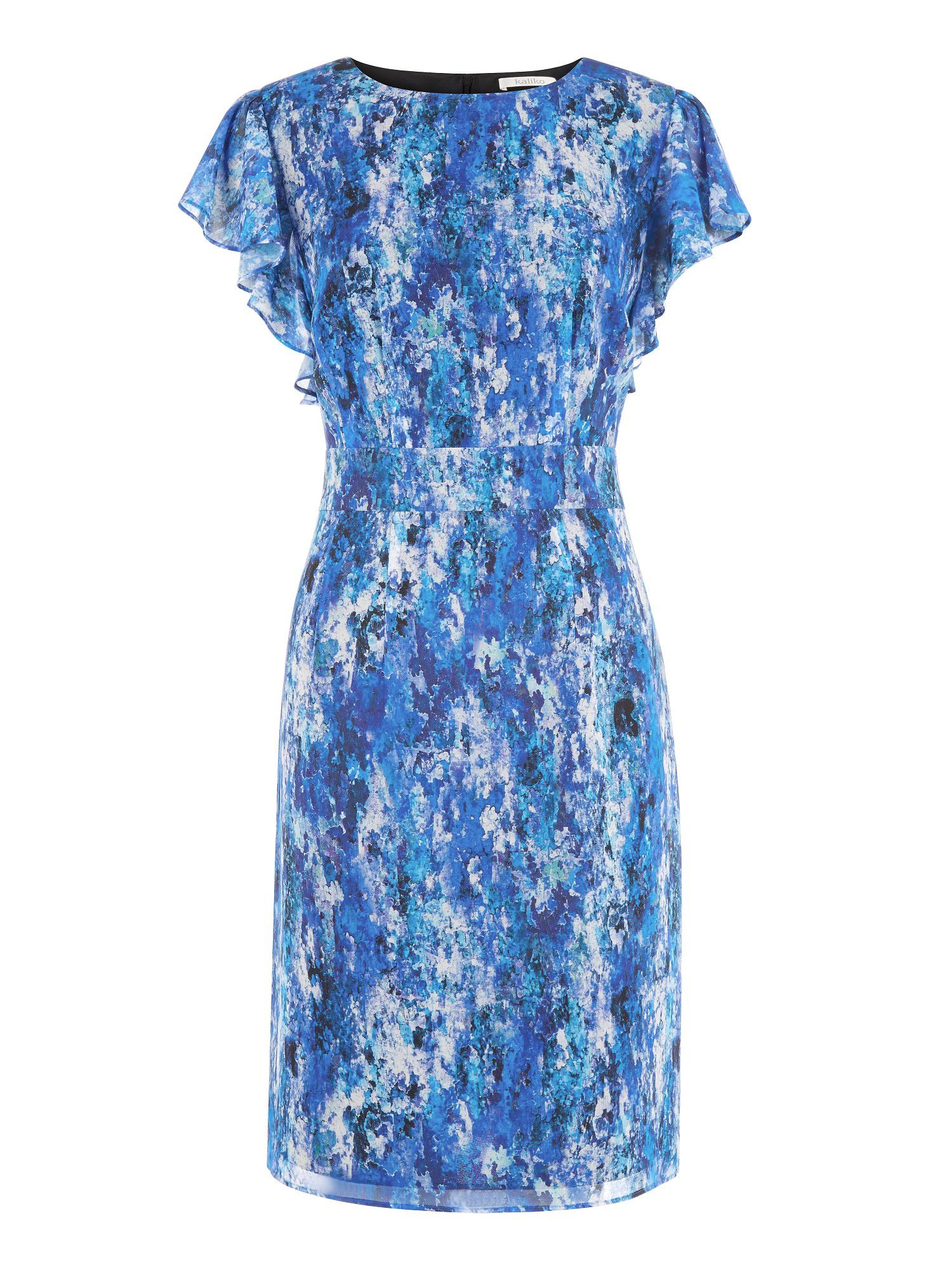 Inez print waterfall sleeve dress