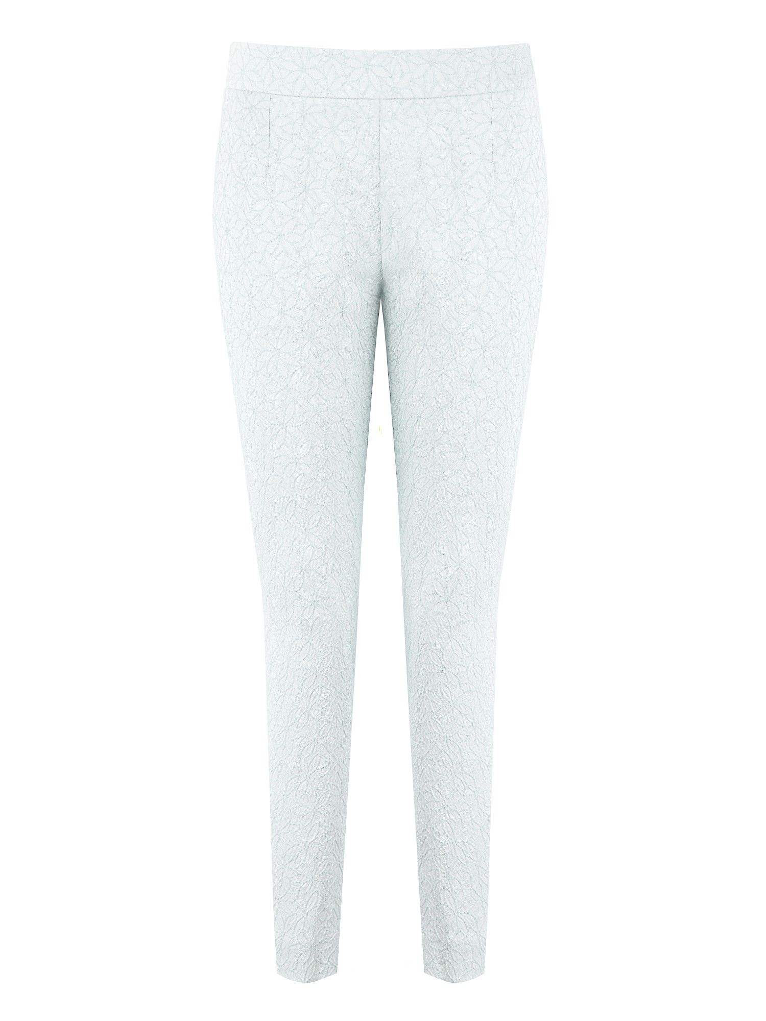 Duck egg blue daisy jacquard trousers