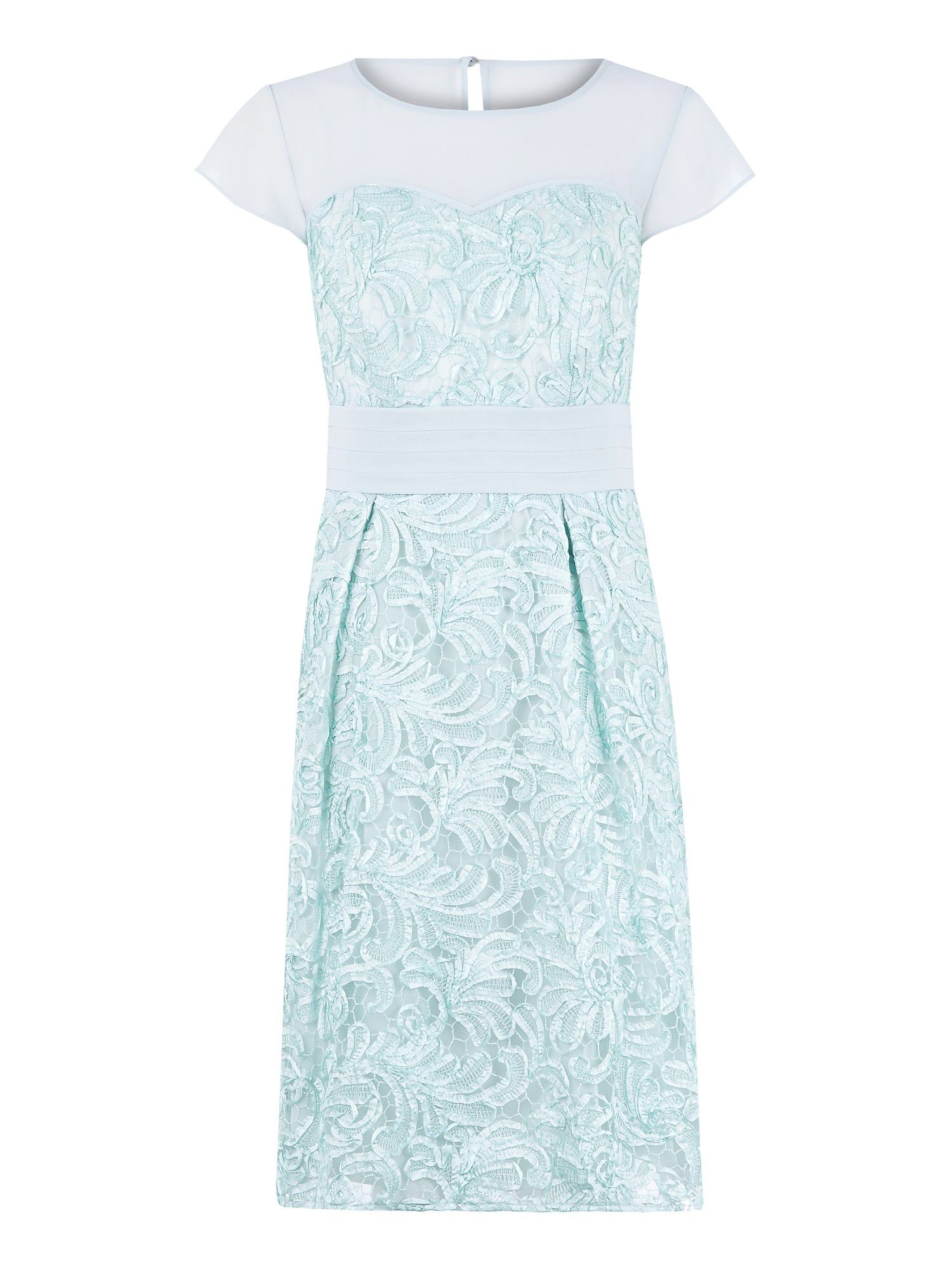 Duck egg blue cornelli lace prom dress