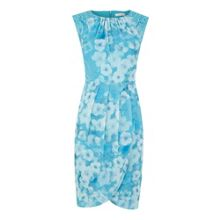 Marina floral printed lace overlay dress