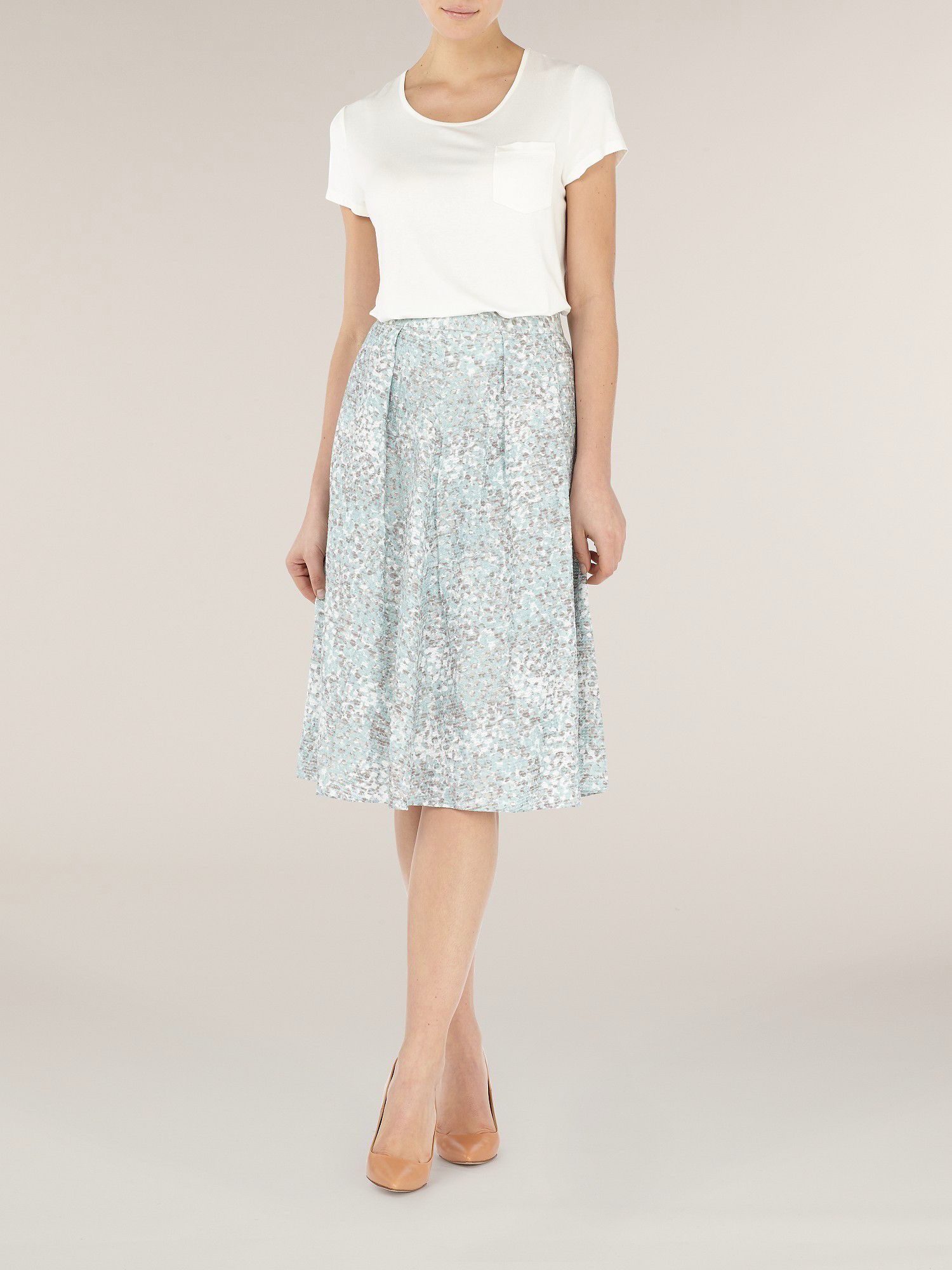 Duck egg mosaic printed skirt