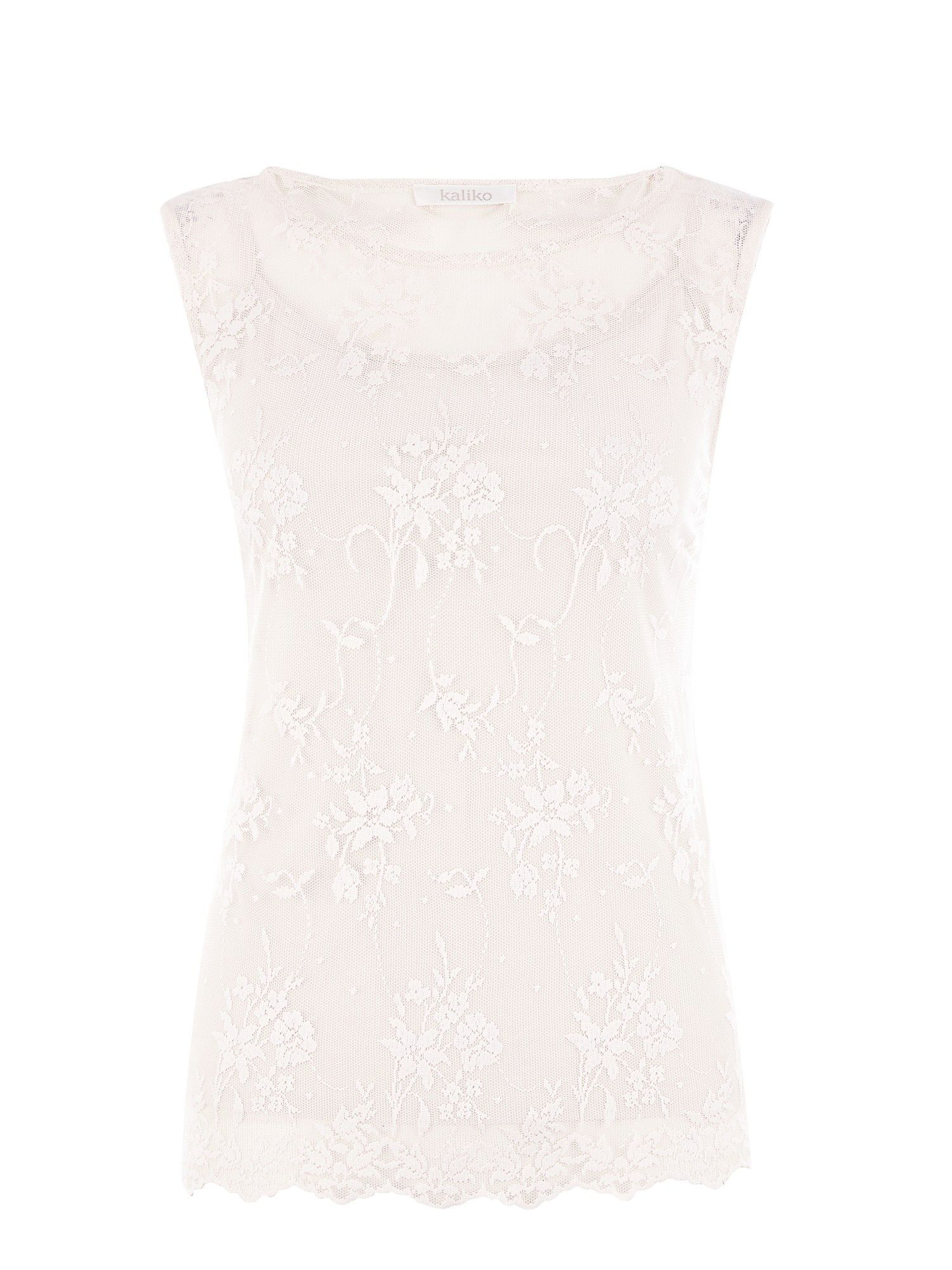 Ivory lace top and lace trim cami
