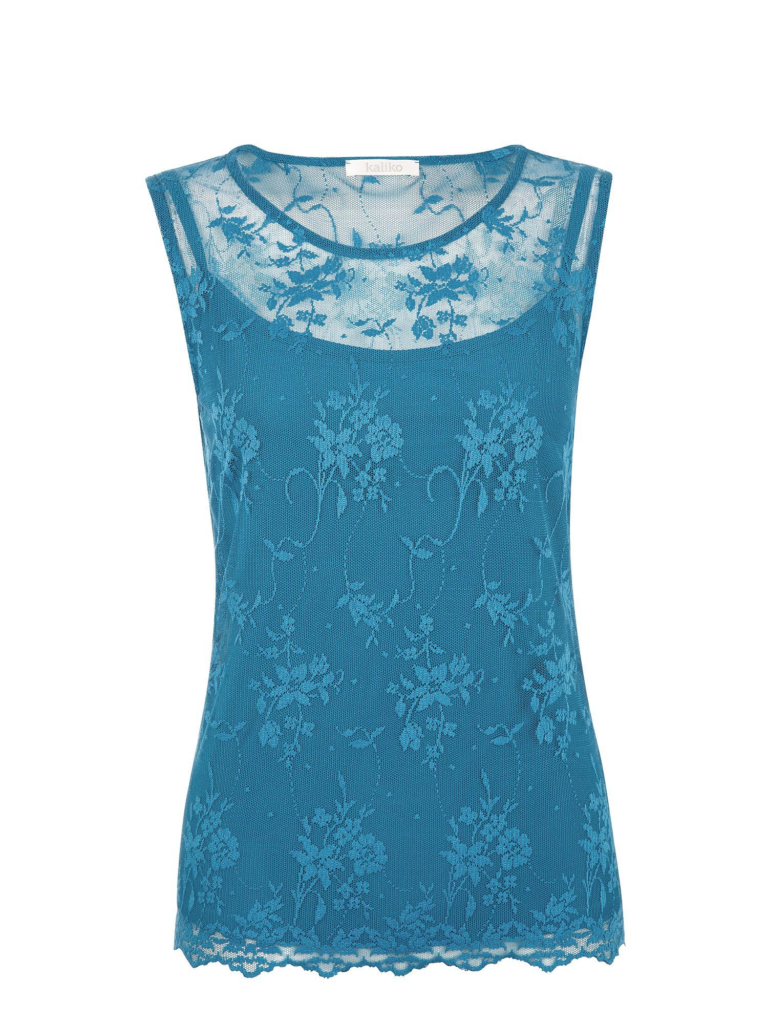 Teal lace top and lace trim cami