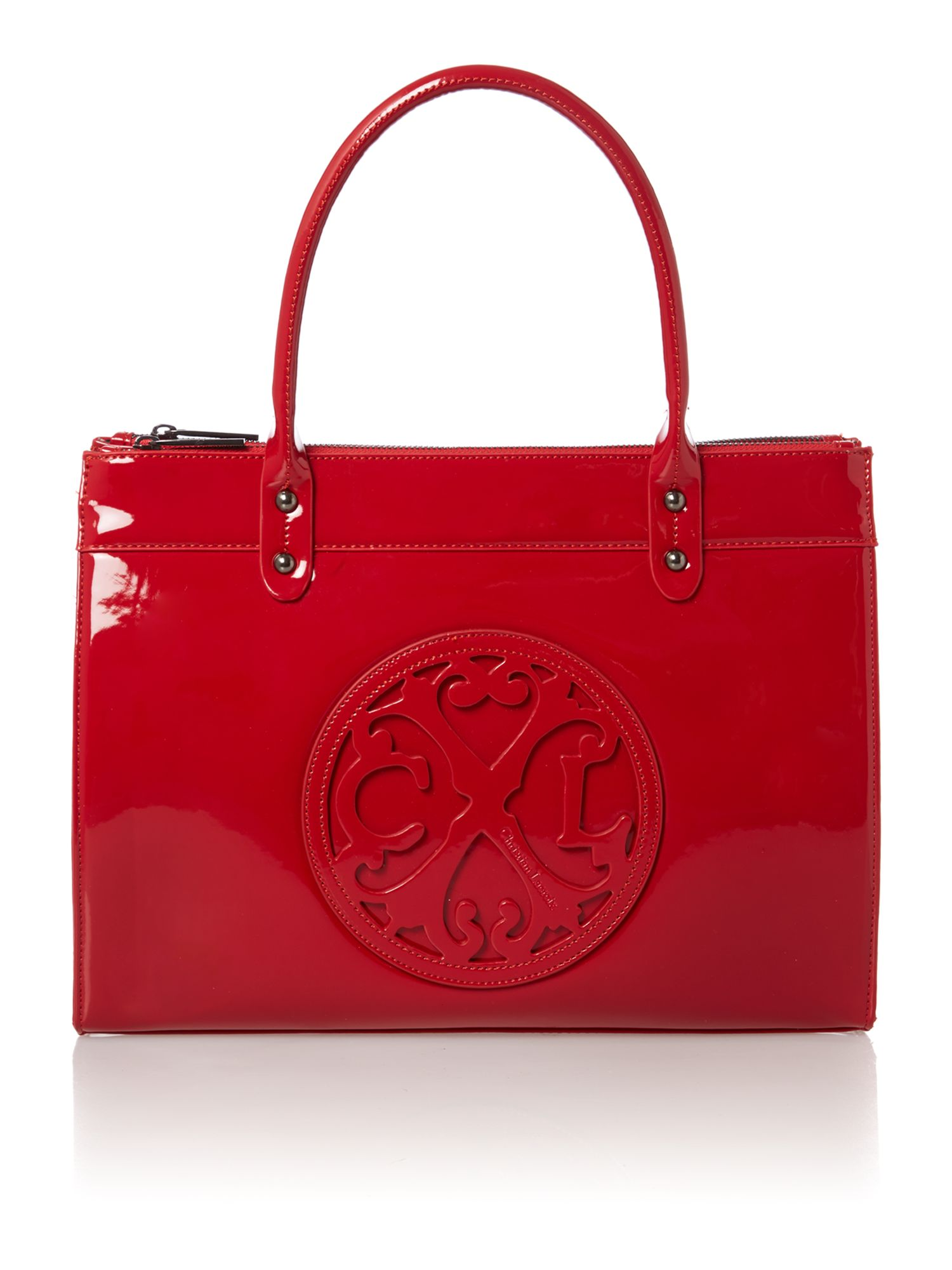 Jonc red patent tote bag