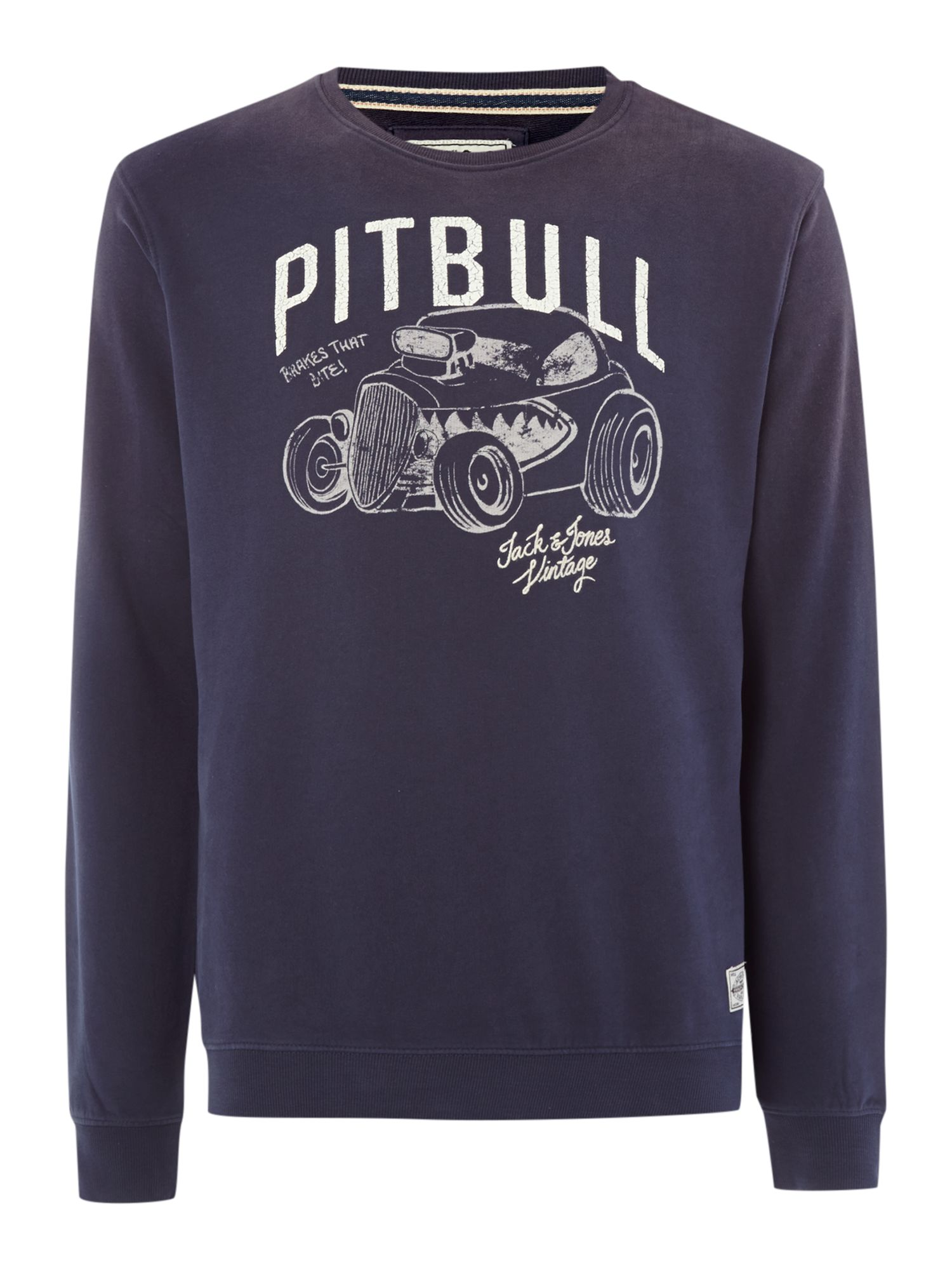 Pitbull print crew neck sweat