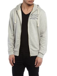 Company logo zip through hooded sweat