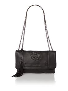 Relief black large chain clutch bag