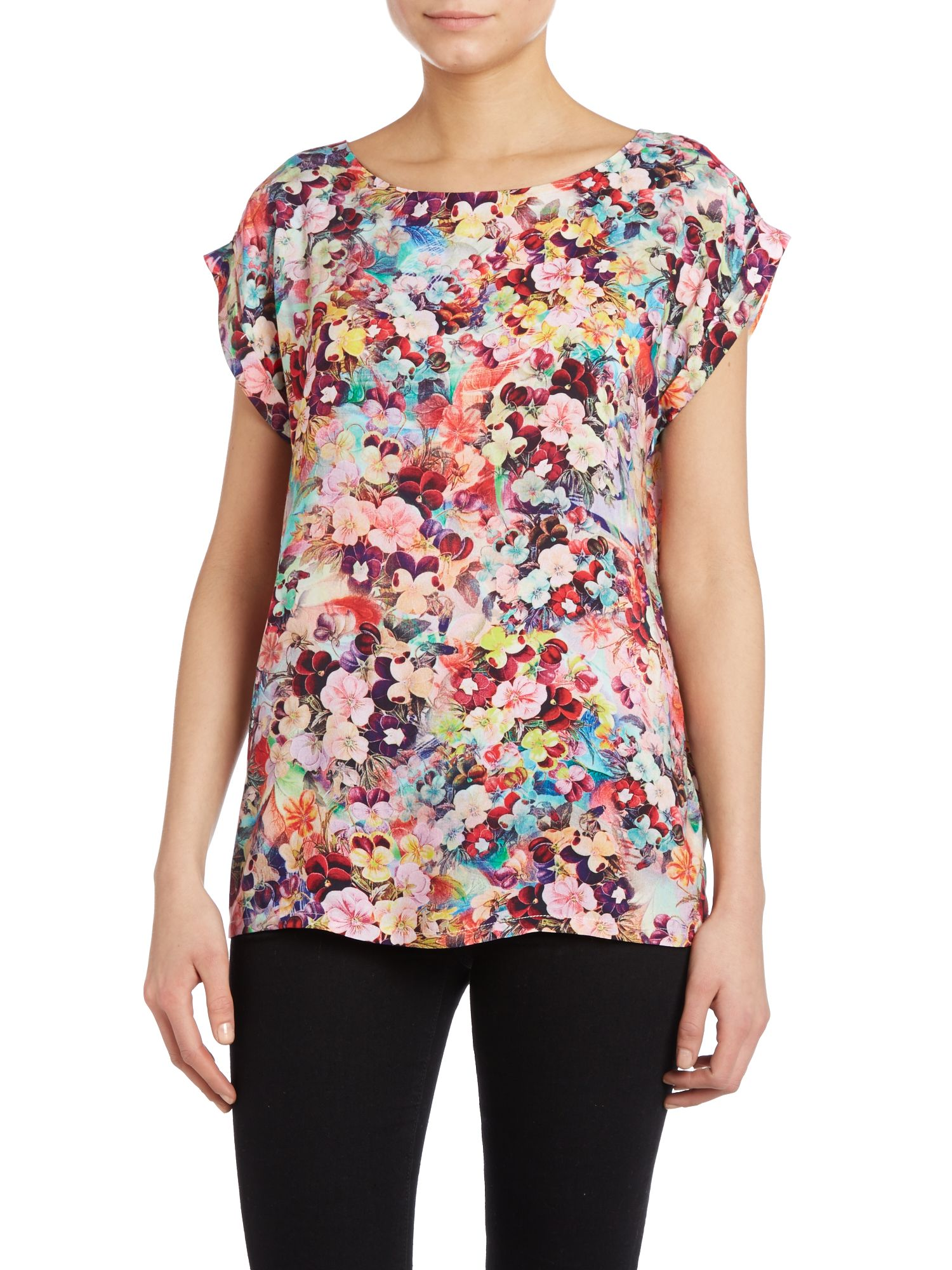 Fluro square print top