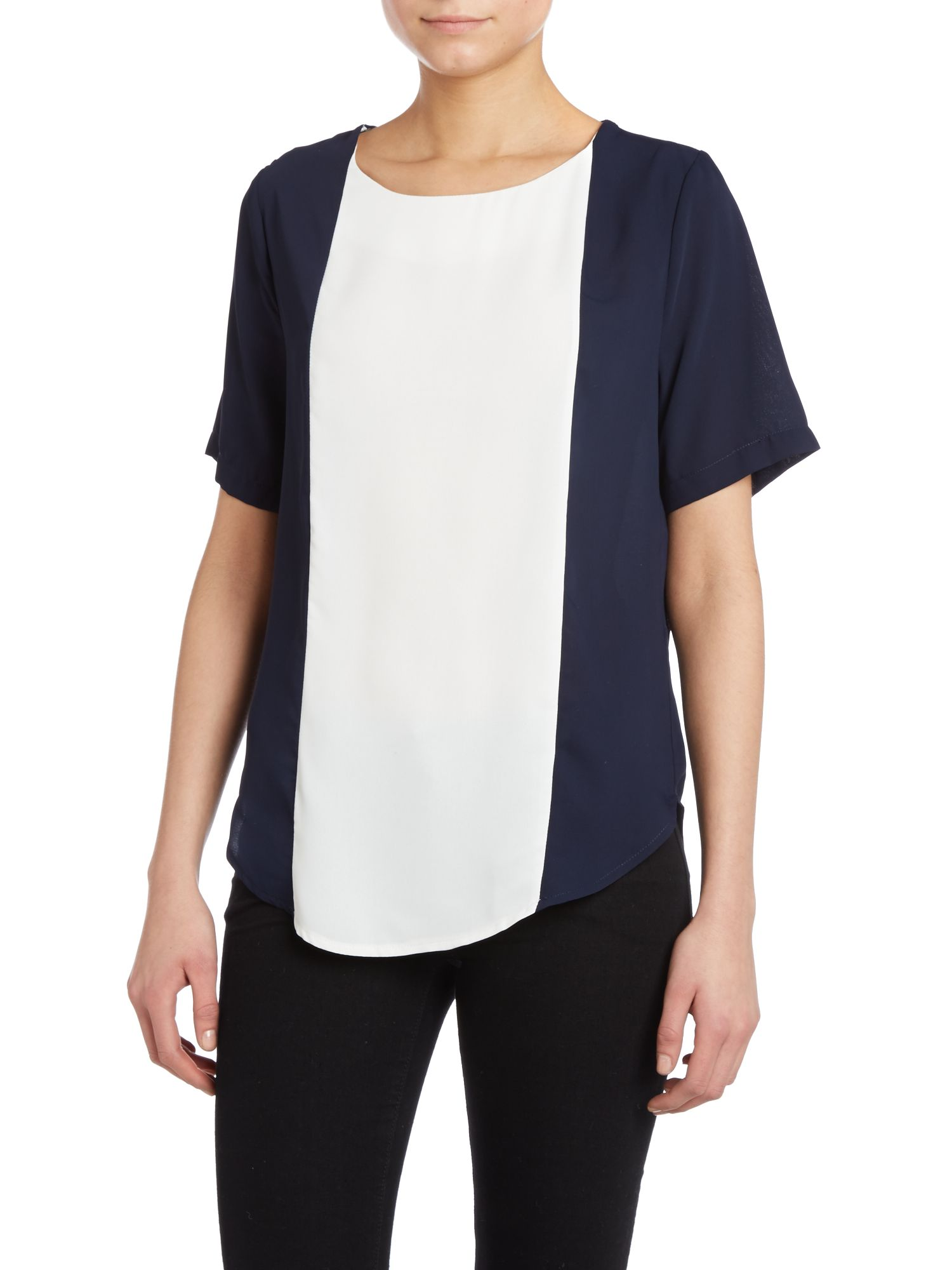 Contrast panel short sleeved top
