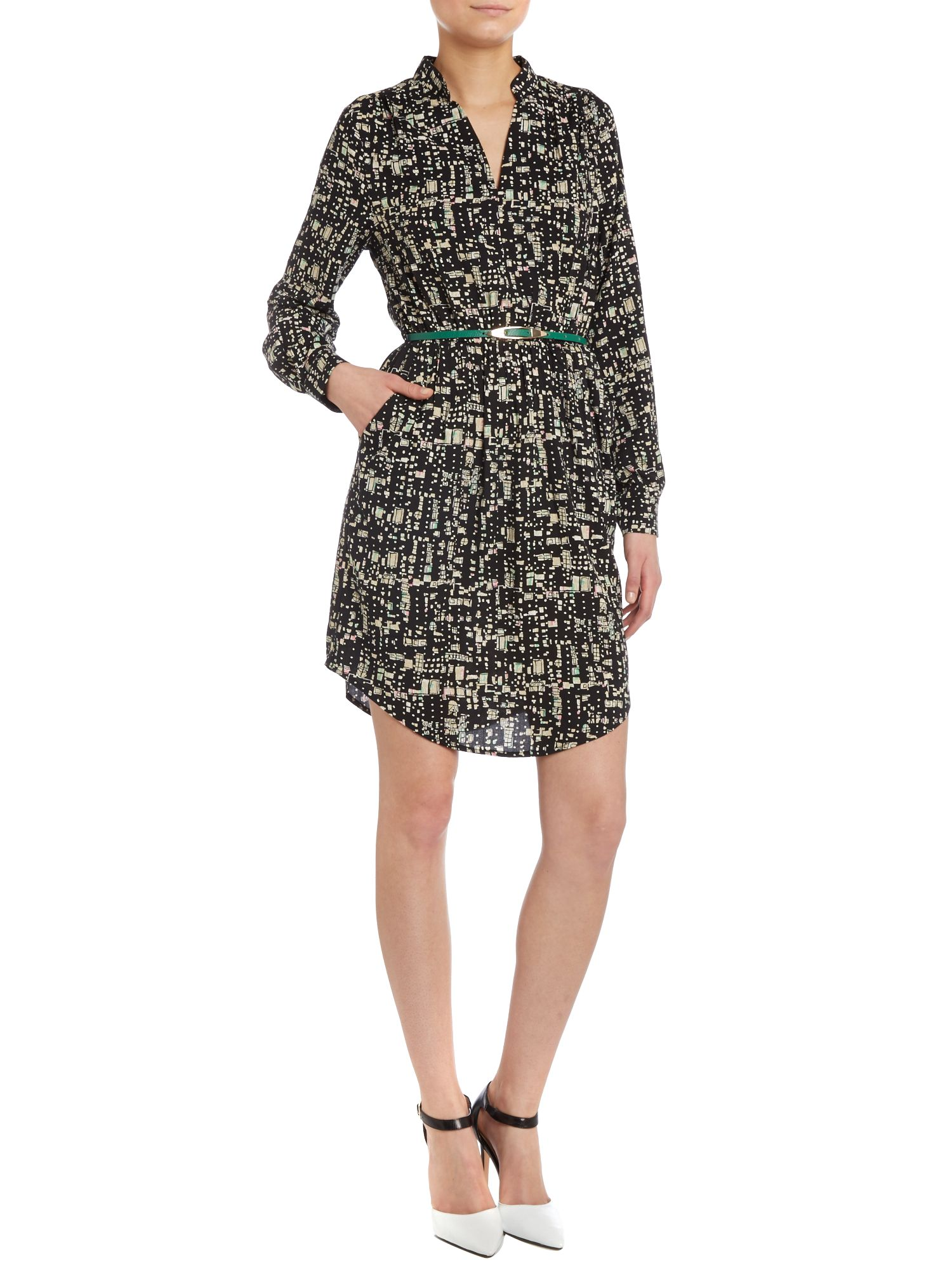 Block print shirt dress