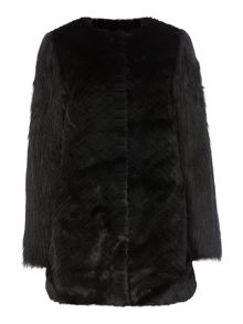 Textured Faux Fur Coat