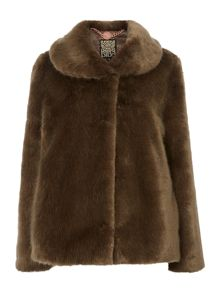 Short mink faux fur coat