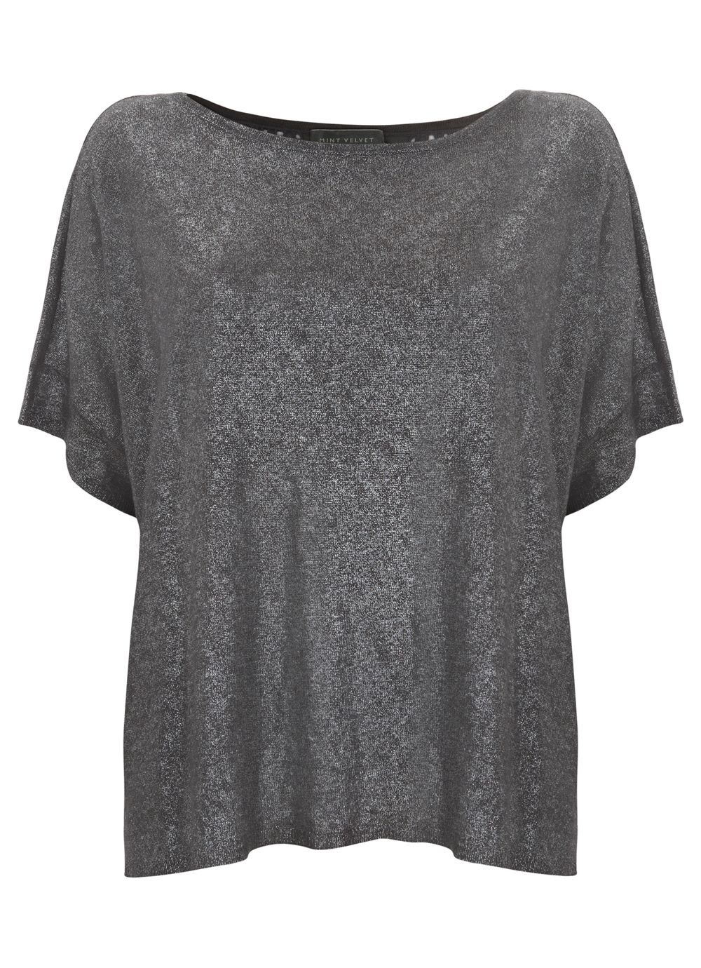 Slate foil lace back knit