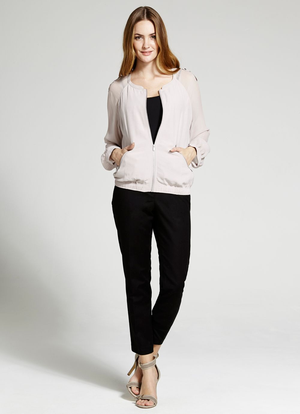 Blush pink georgette bomber jacket