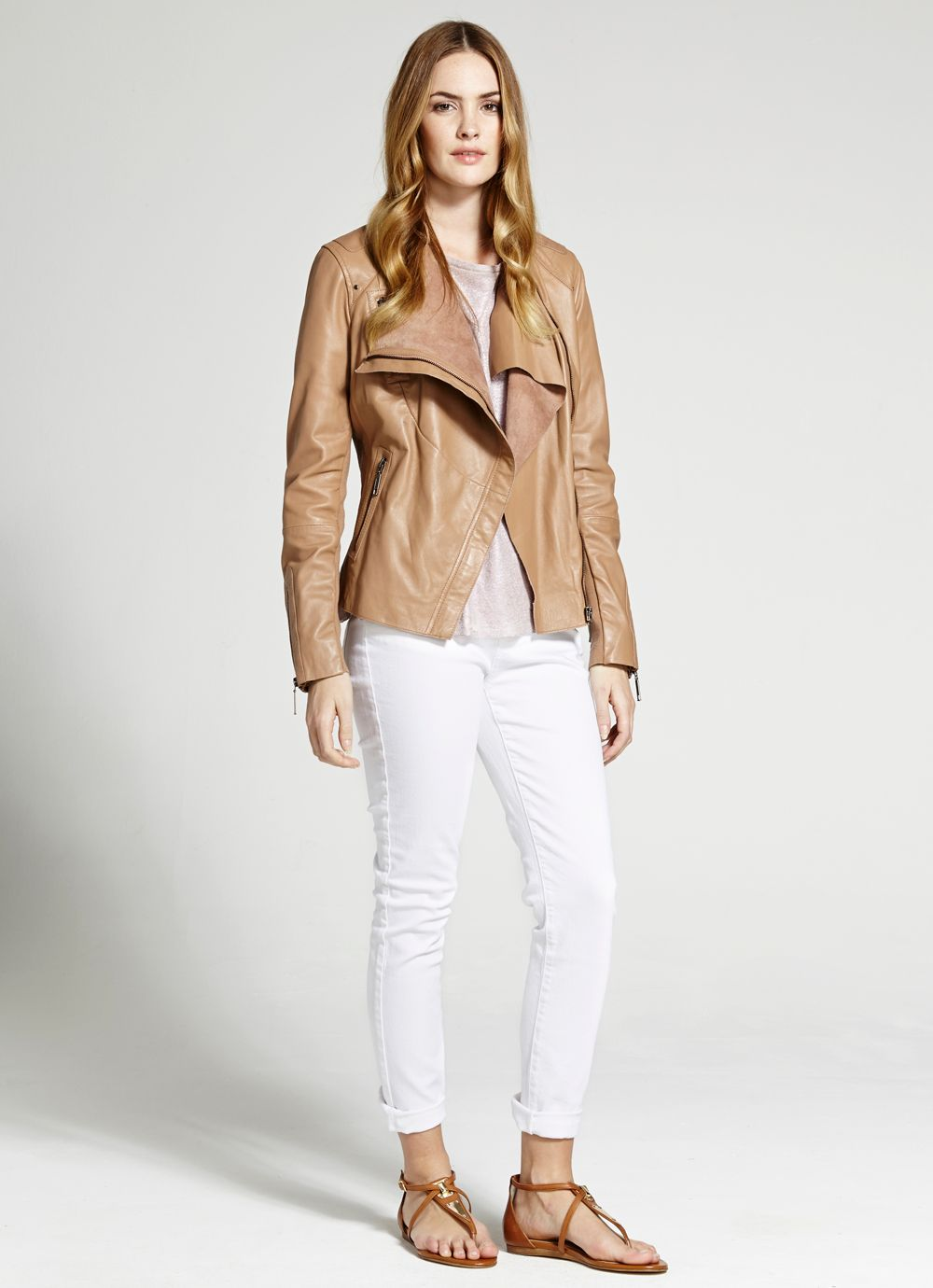 Tan organic front leather jacket