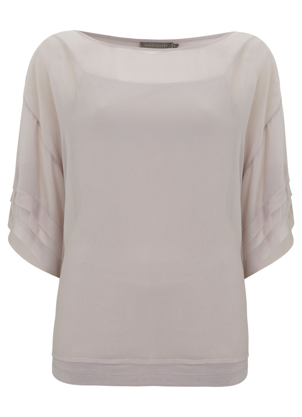 Blush pleat sleeve top