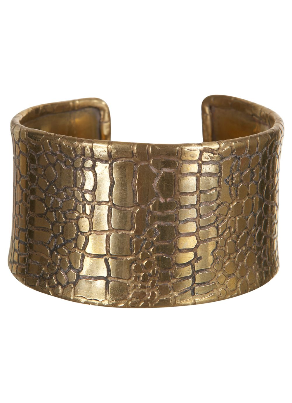 Antique gold snake print cuff