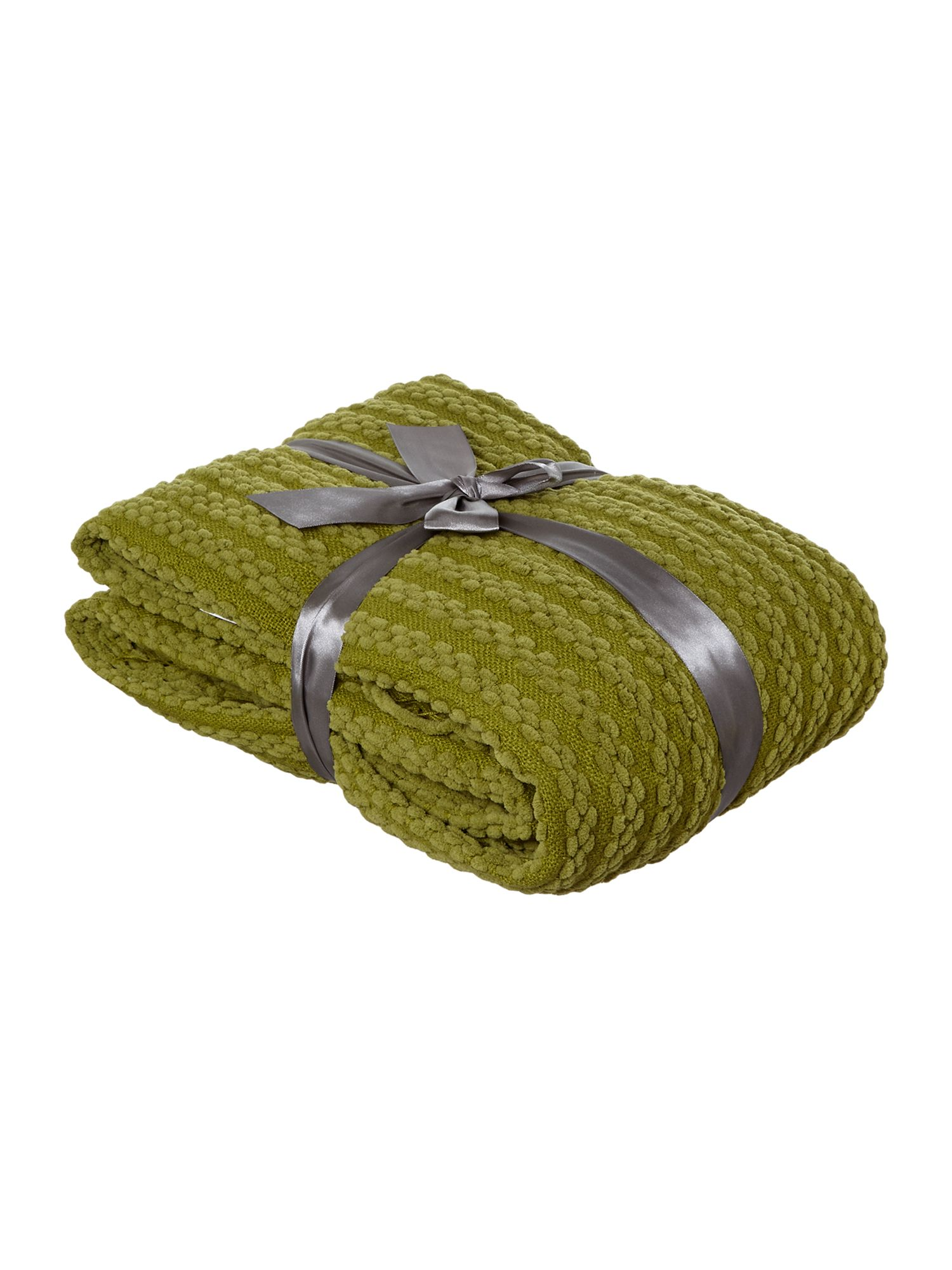 Green paw stitch chenille throw