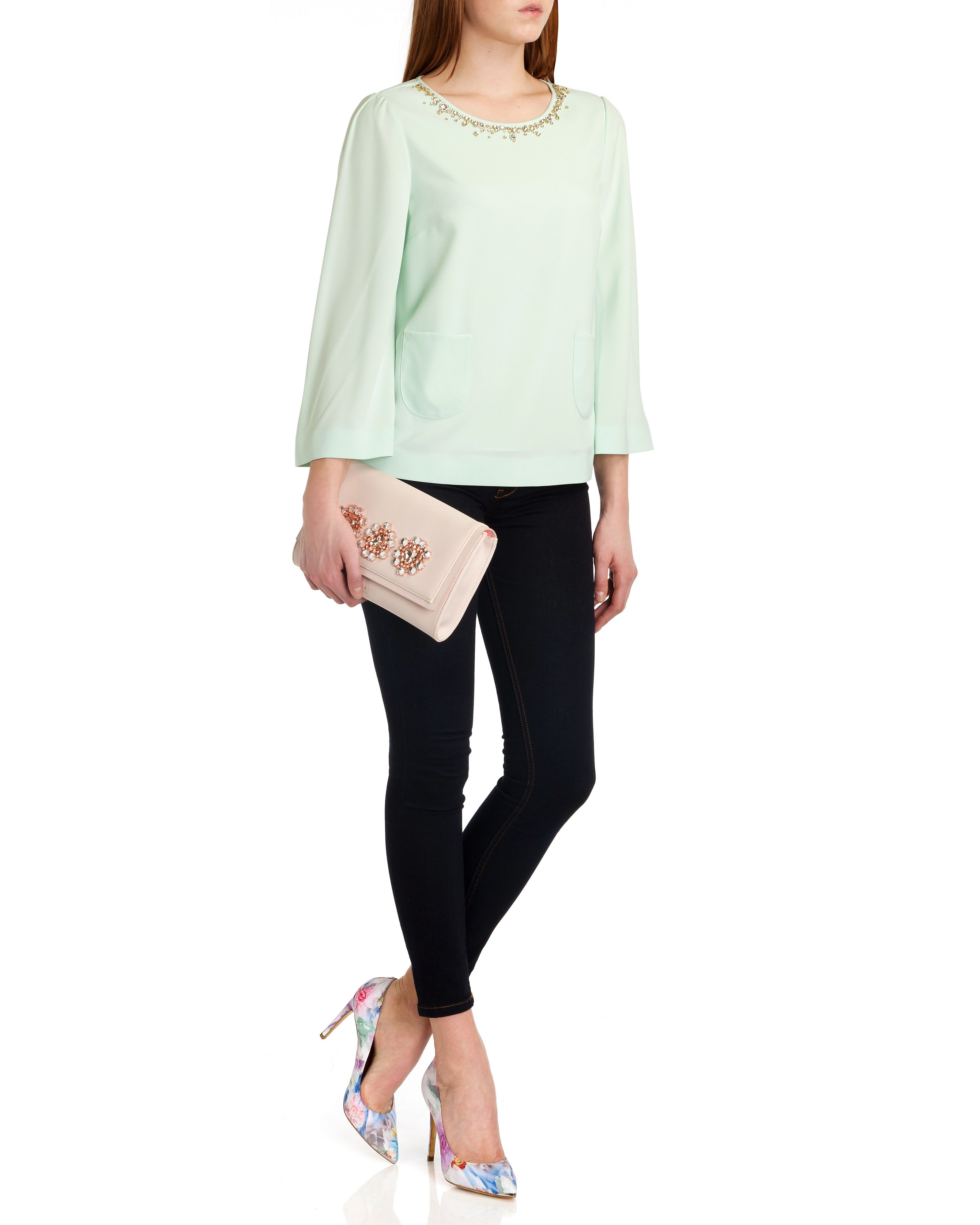 Viiva embellished neck top