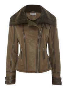Faux sheepskin aviator