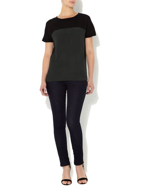 Mary Portas Solid and sheer rib neck top