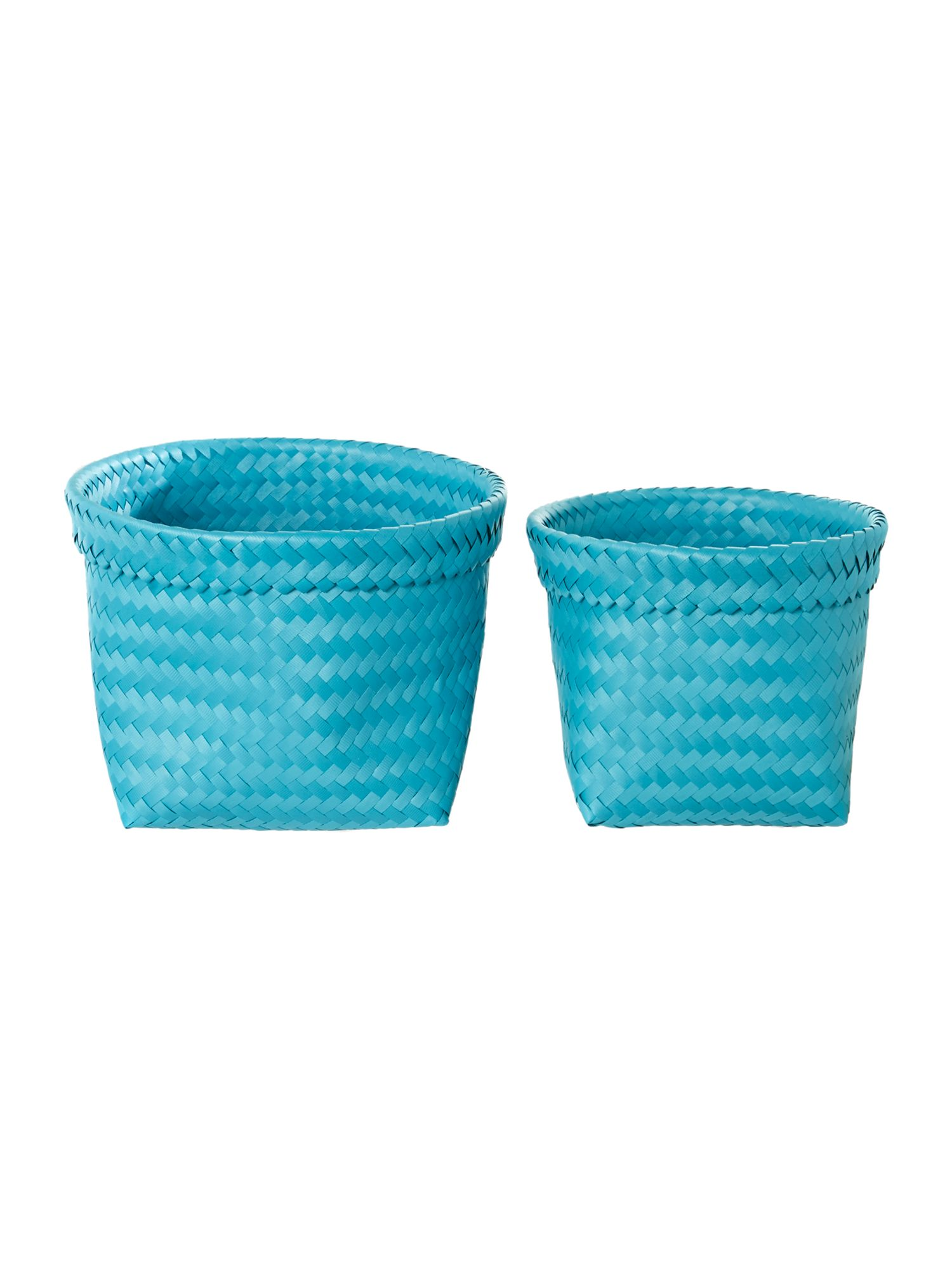 Set of 2 woven baskets blue