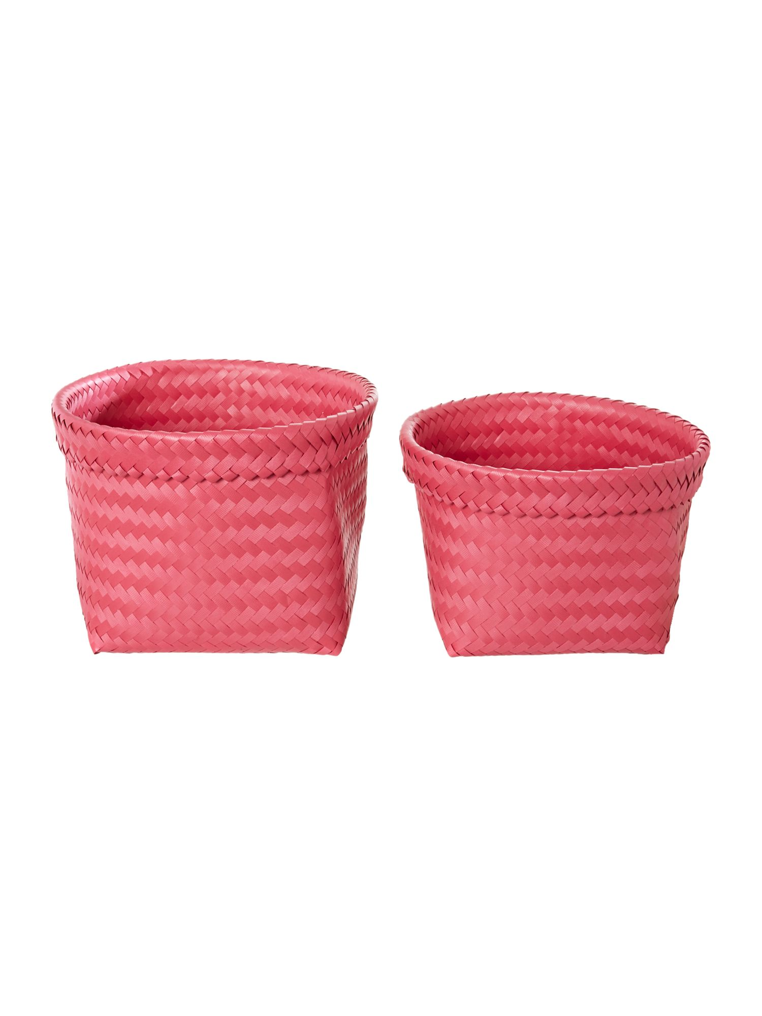 Set of 2 woven baskets pink